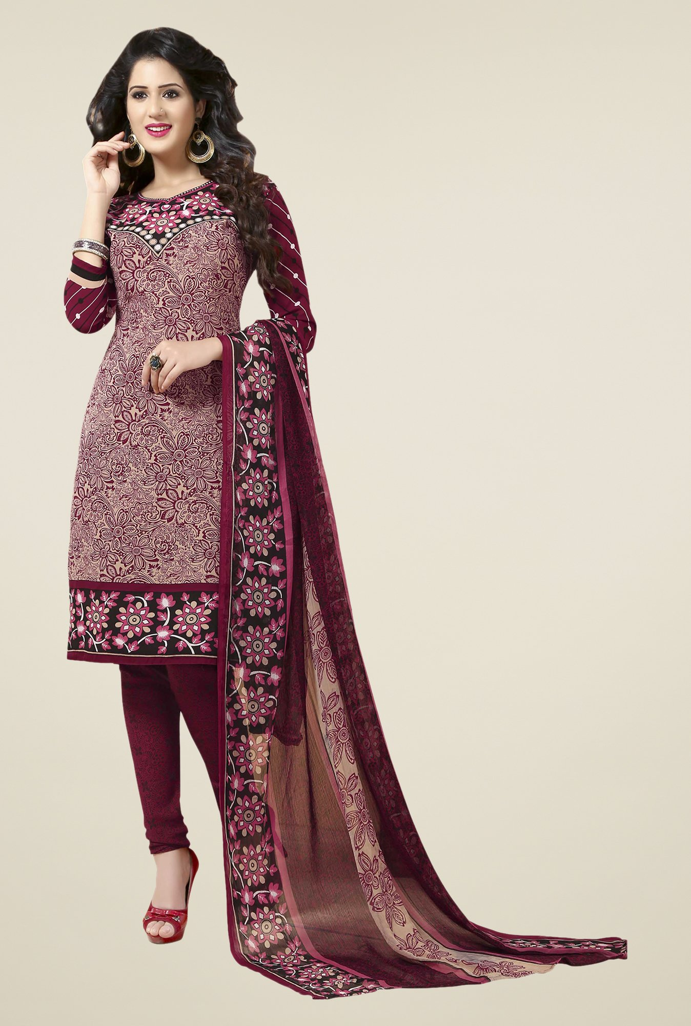 Ishin Maroon Printed Unstitched Dress Material