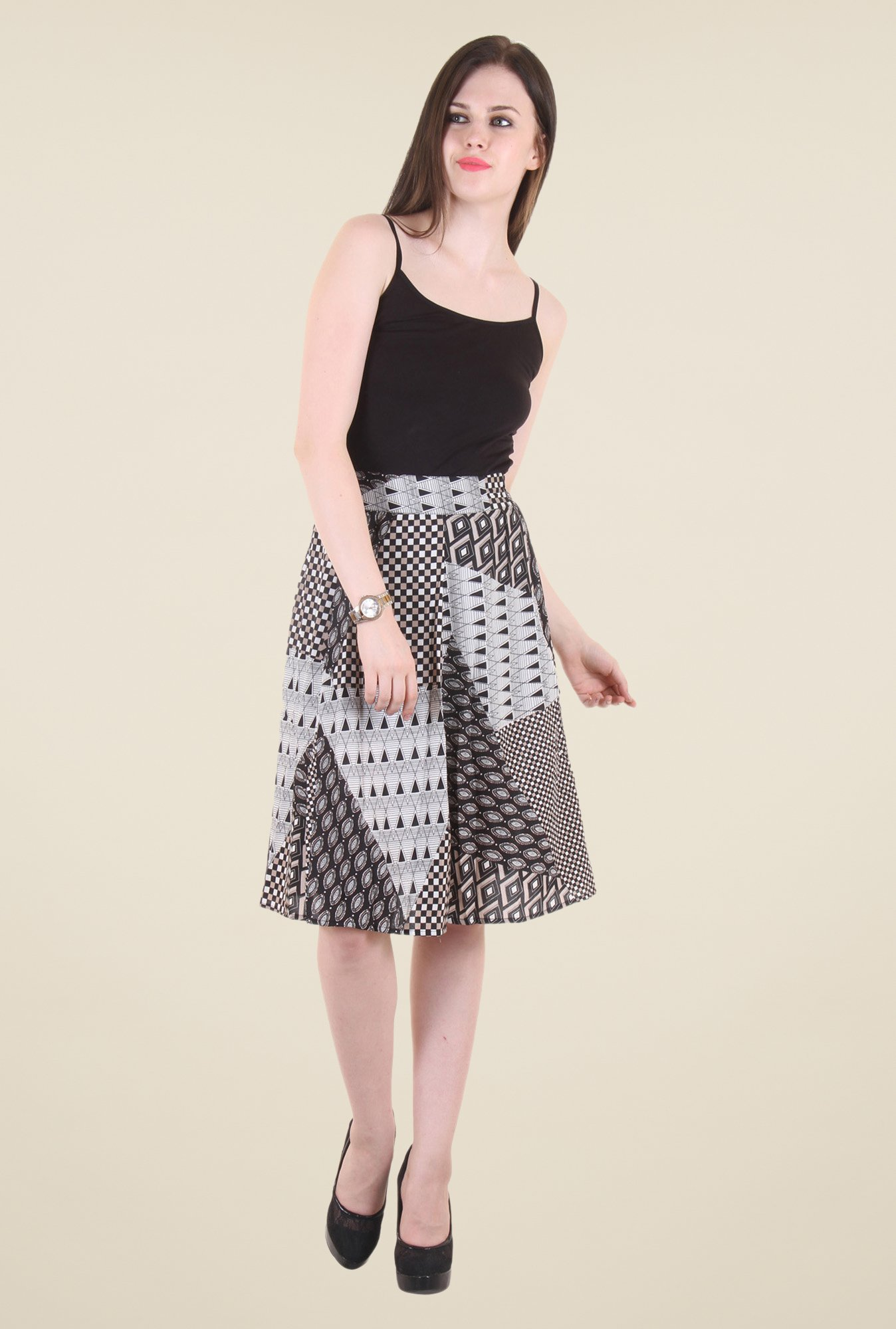 Hotberries Black Printed Skirt