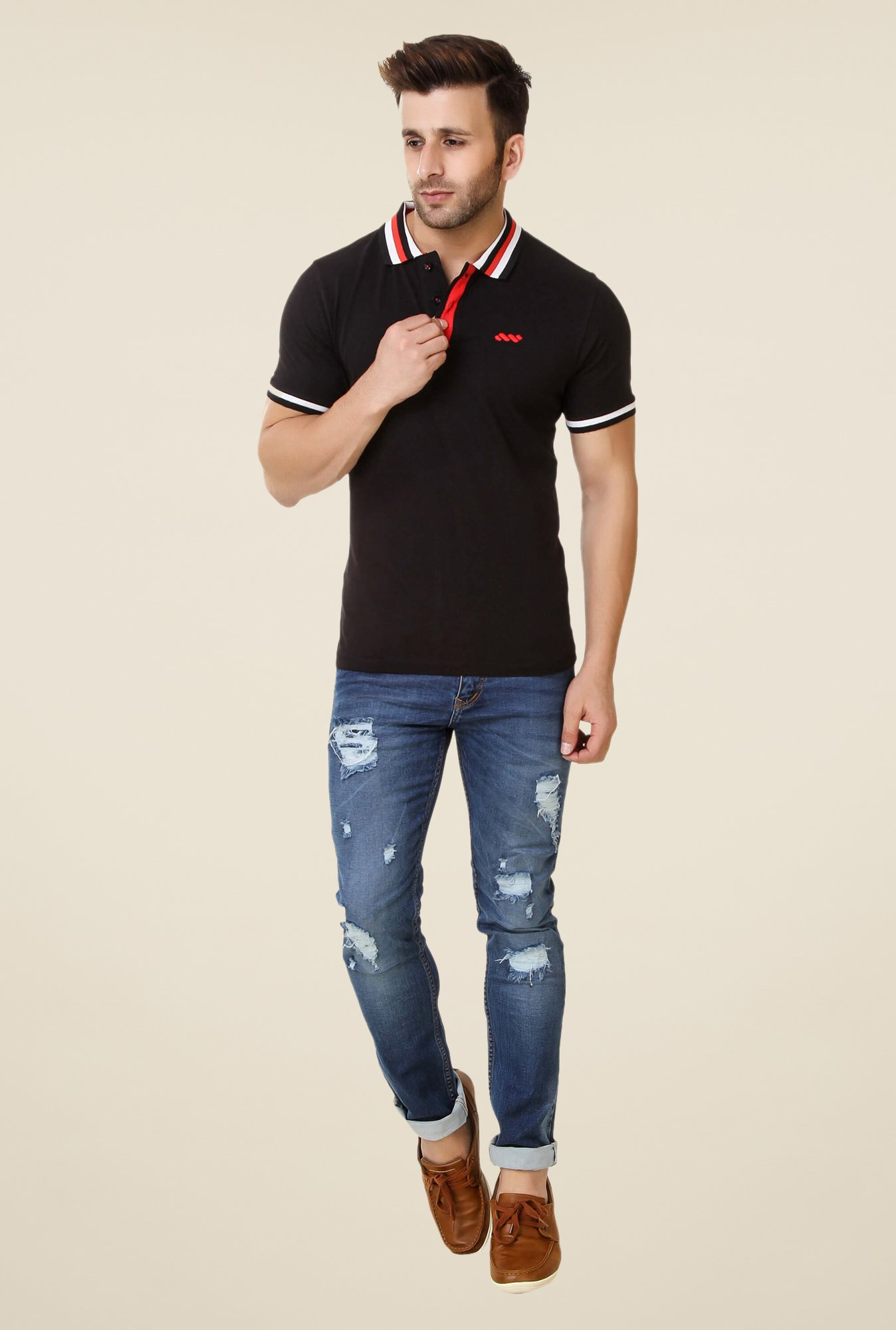 Spunk Black Taping Polo T-shirt
