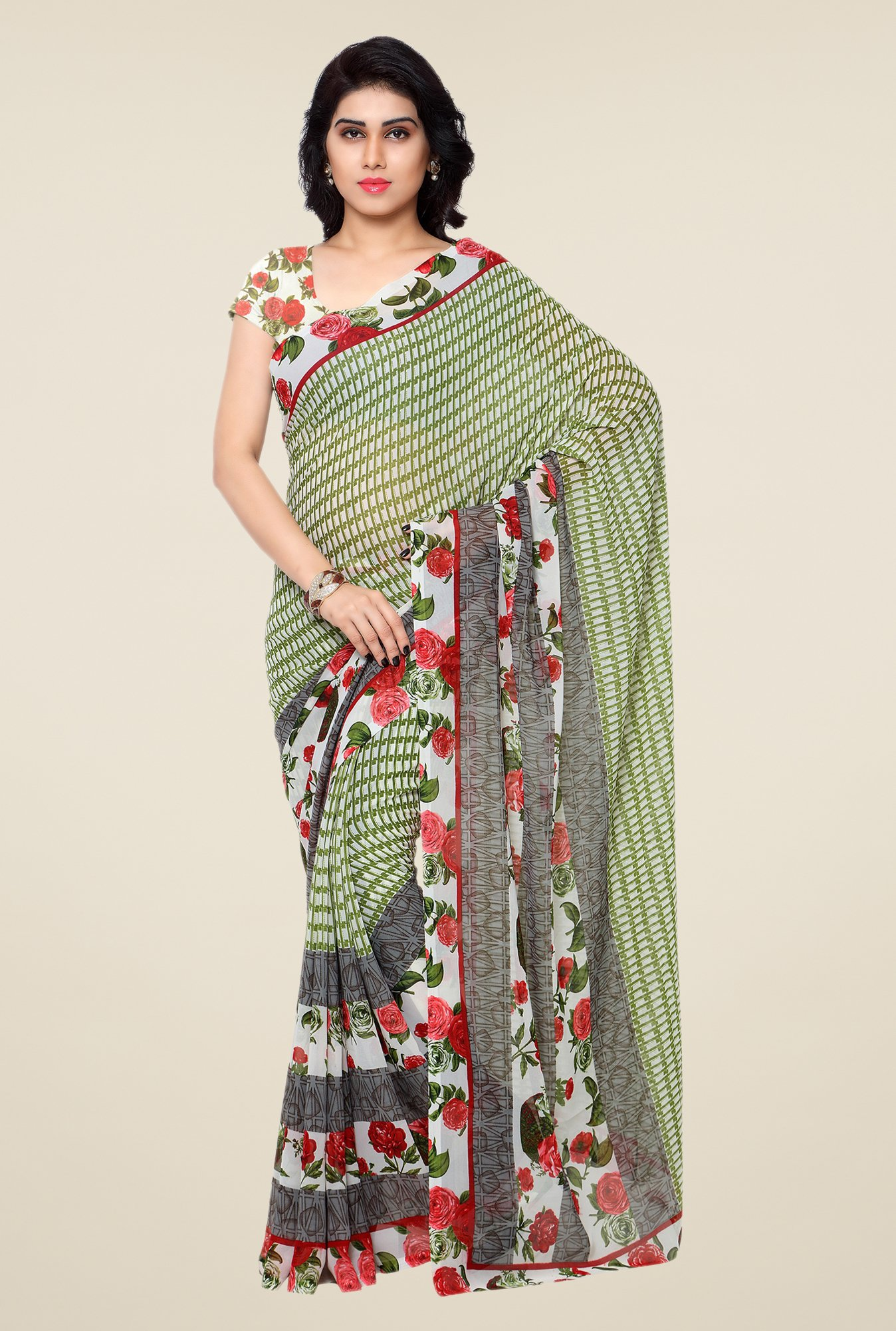 Shonaya Green & Cream Printed Georgette Saree