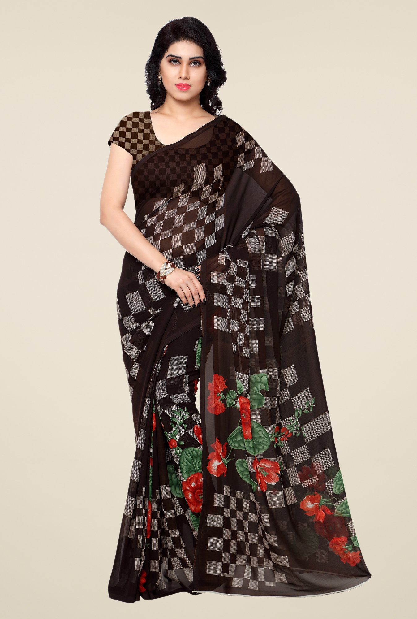 Shonaya Brown Printed Georgette Saree