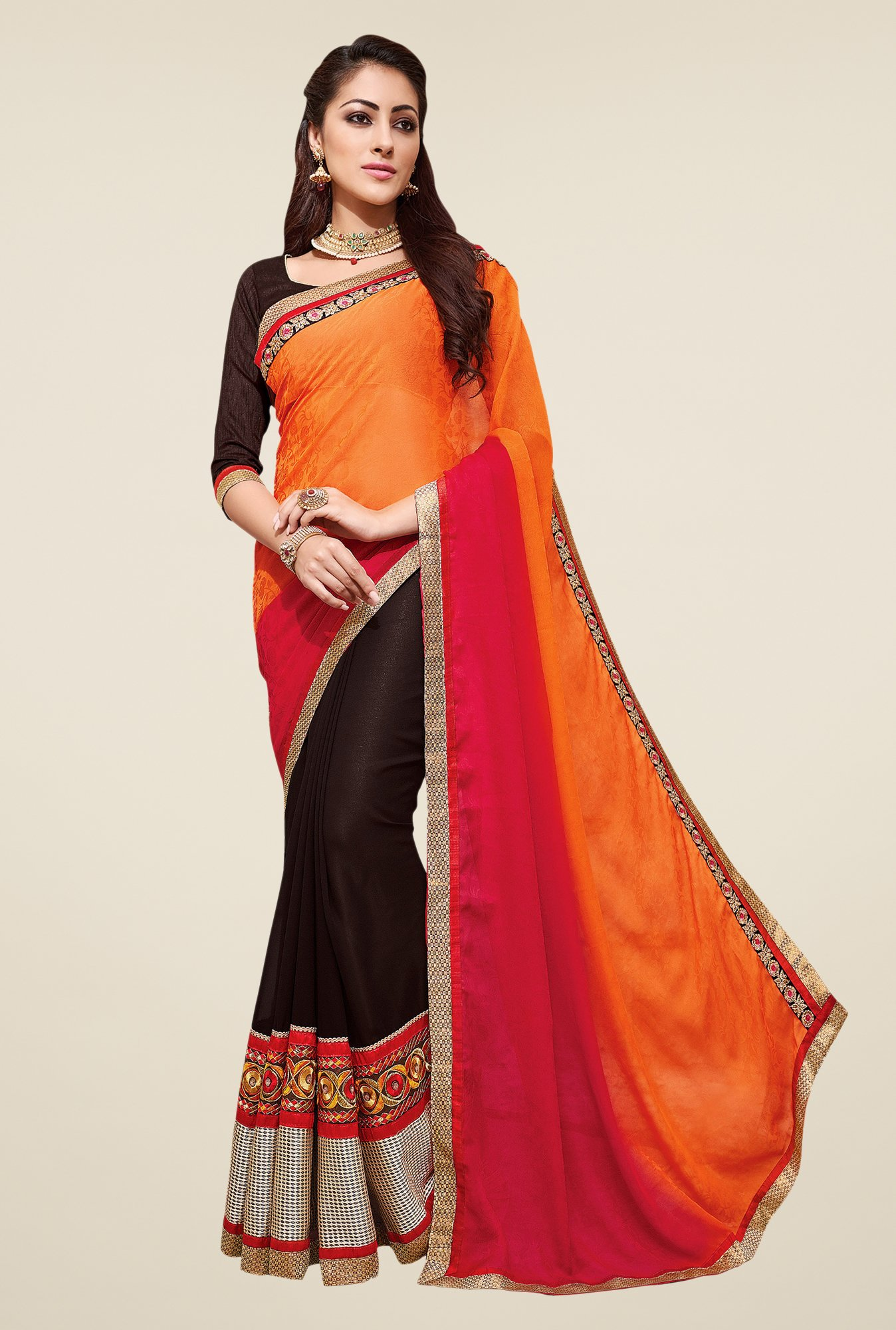 Shonaya Brown & Orange Embroidered Saree