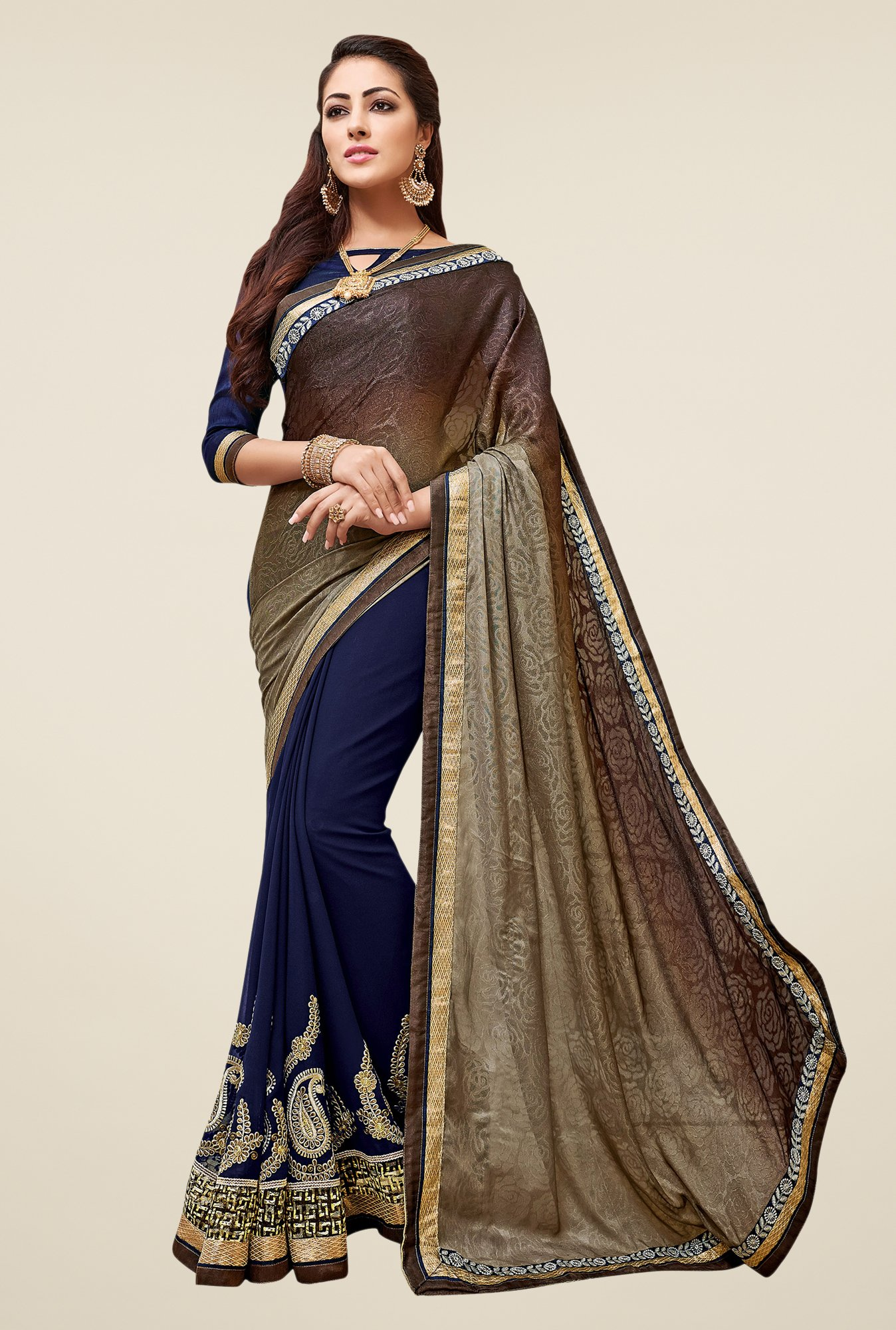 Shonaya Navy & Brown Embroidered Georgette Saree