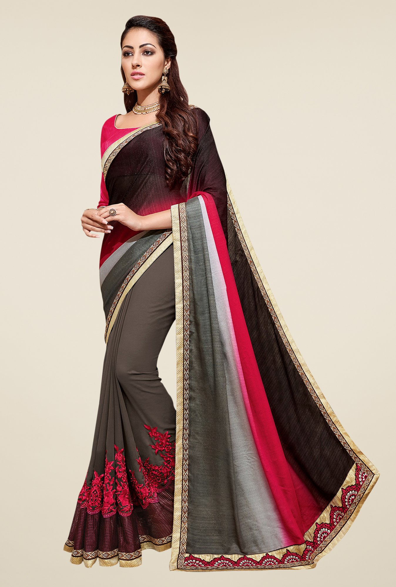 Shonaya Grey & Brown Embroidered Georgette Saree
