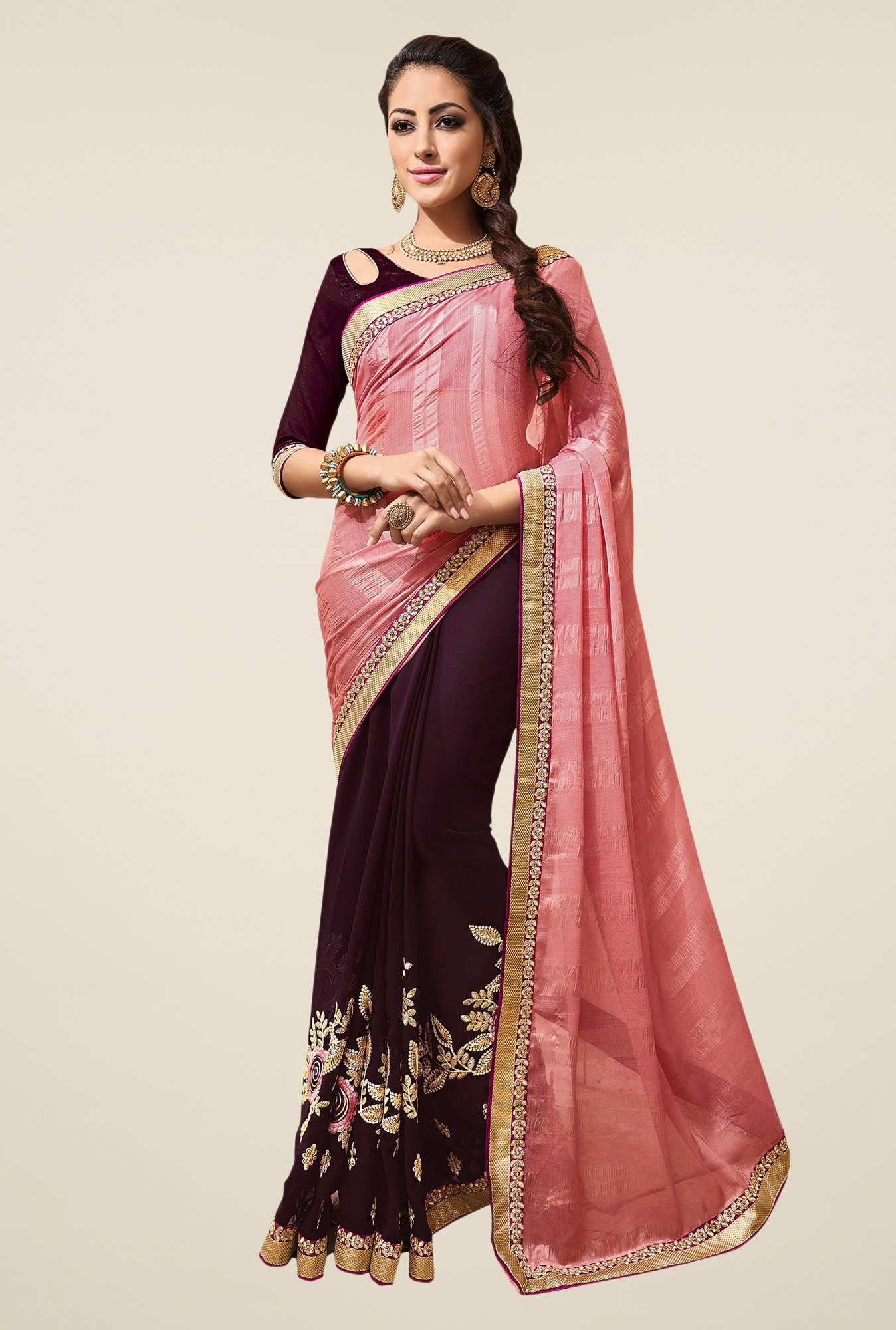 Shonaya Purple & Peach Embroidered Georgette Saree