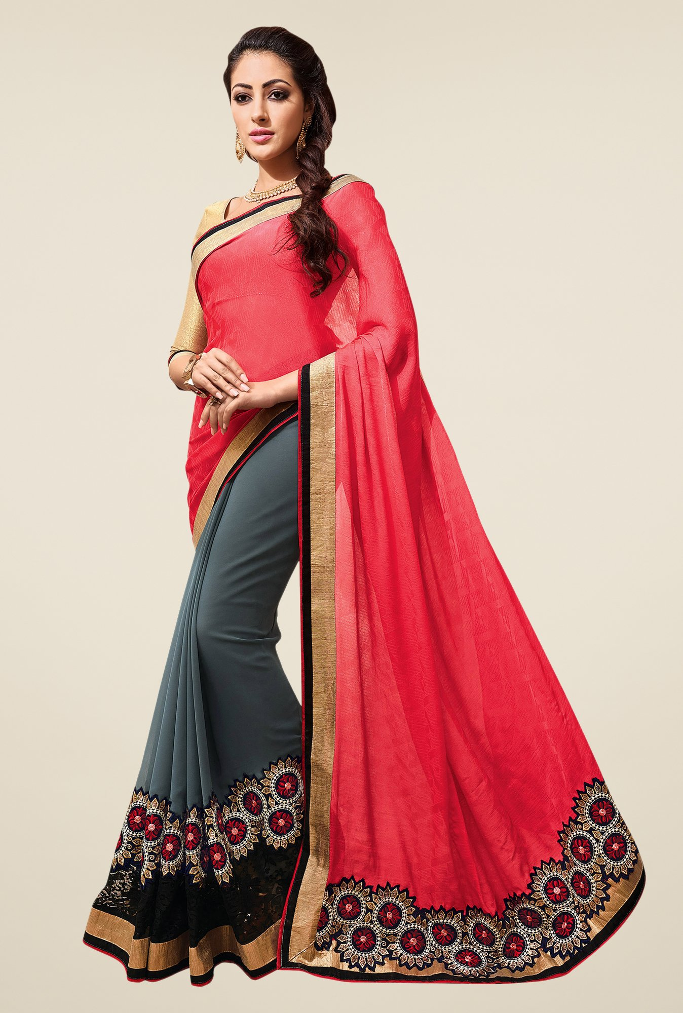 Shonaya Grey & Coral Embroidered Georgette Saree