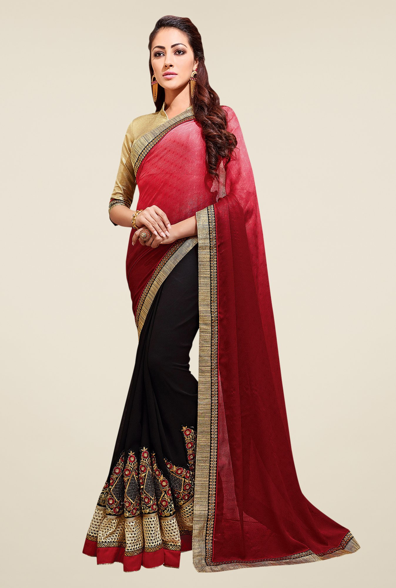 Shonaya Black & Red Embroidered Saree