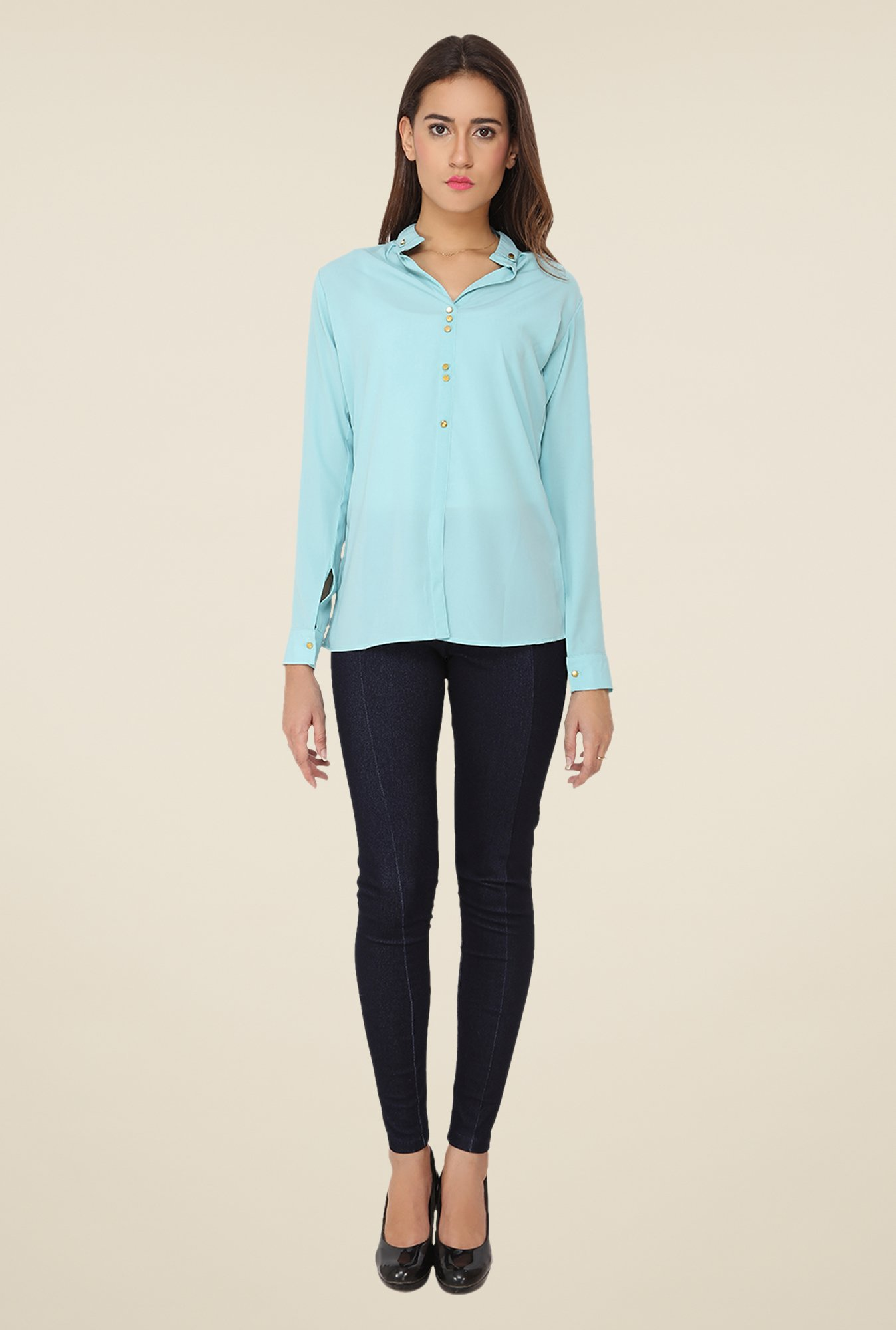 Soie Sky Blue Solid Top