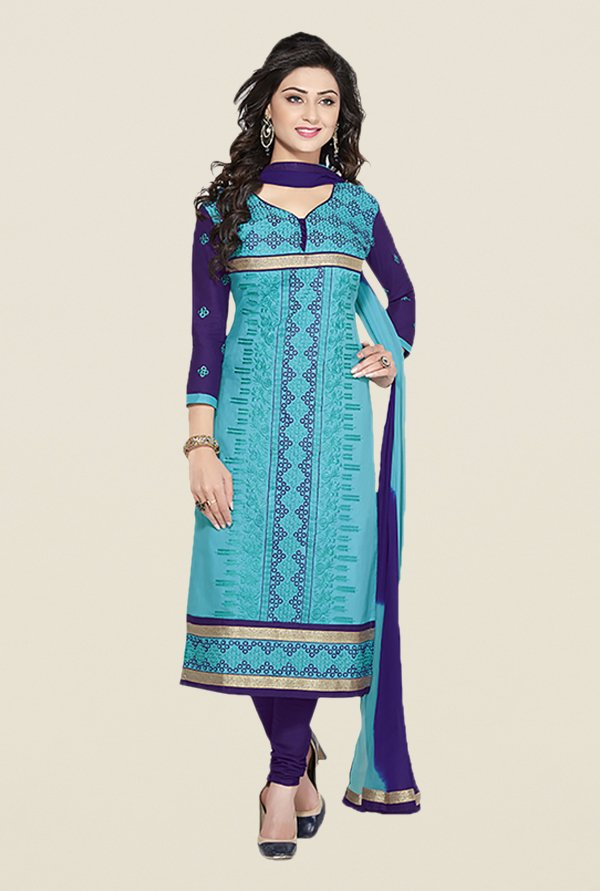 Ishin Blue & Navy Embroidered Unstitched Dress Material