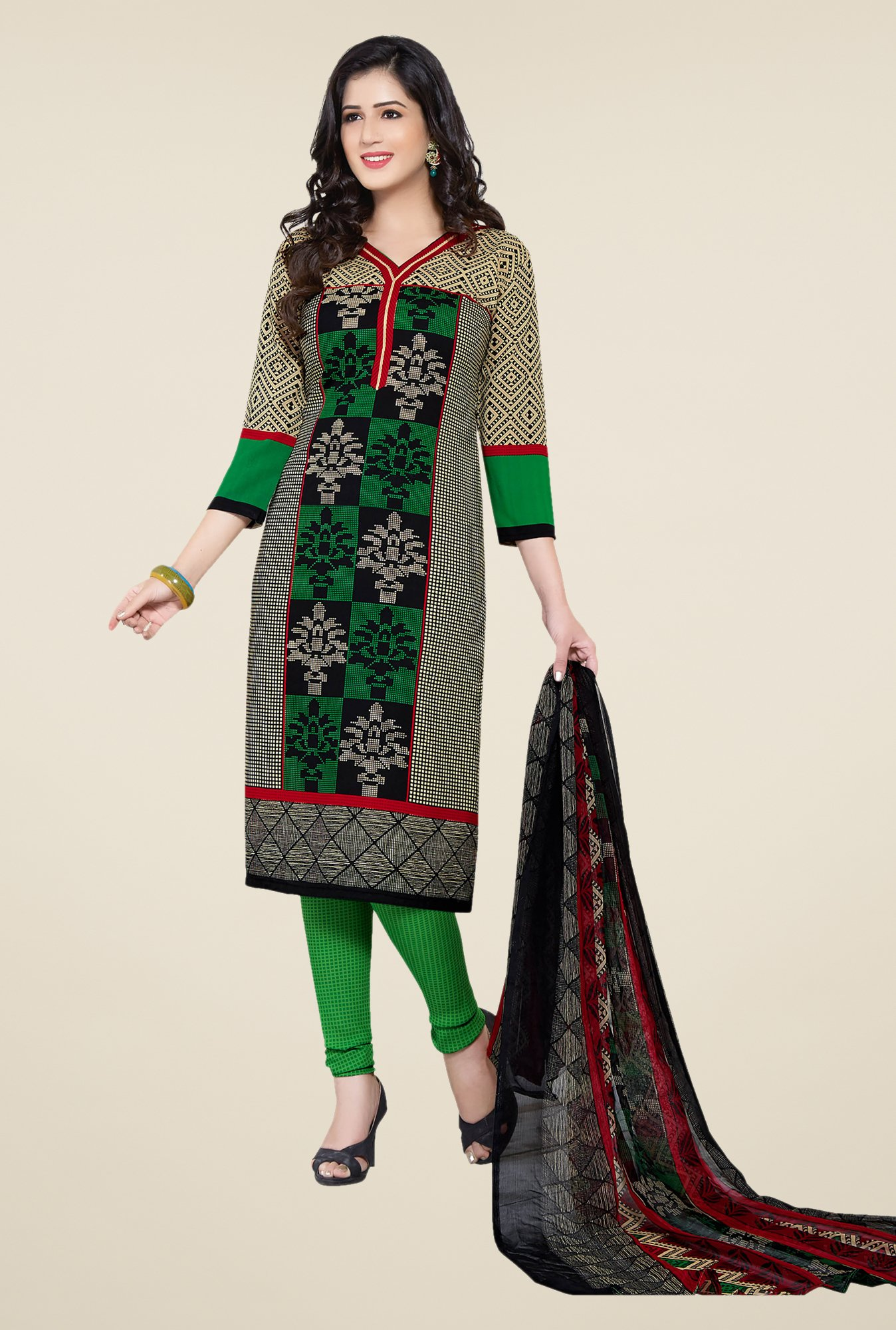 Ishin Multicolor & Green Printed Unstitched Dress Material