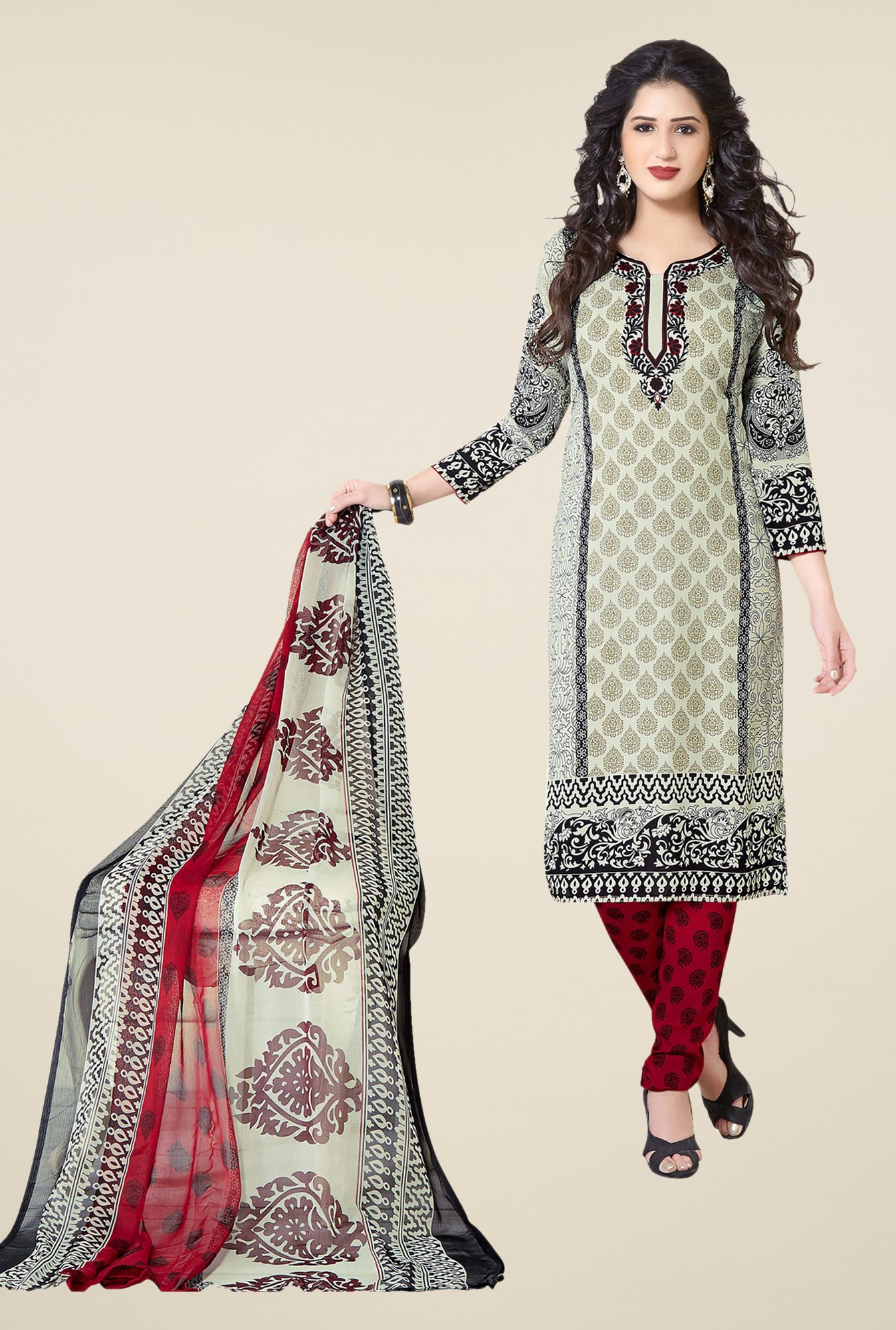 Ishin Beige & Red Printed Unstitched Dress Material