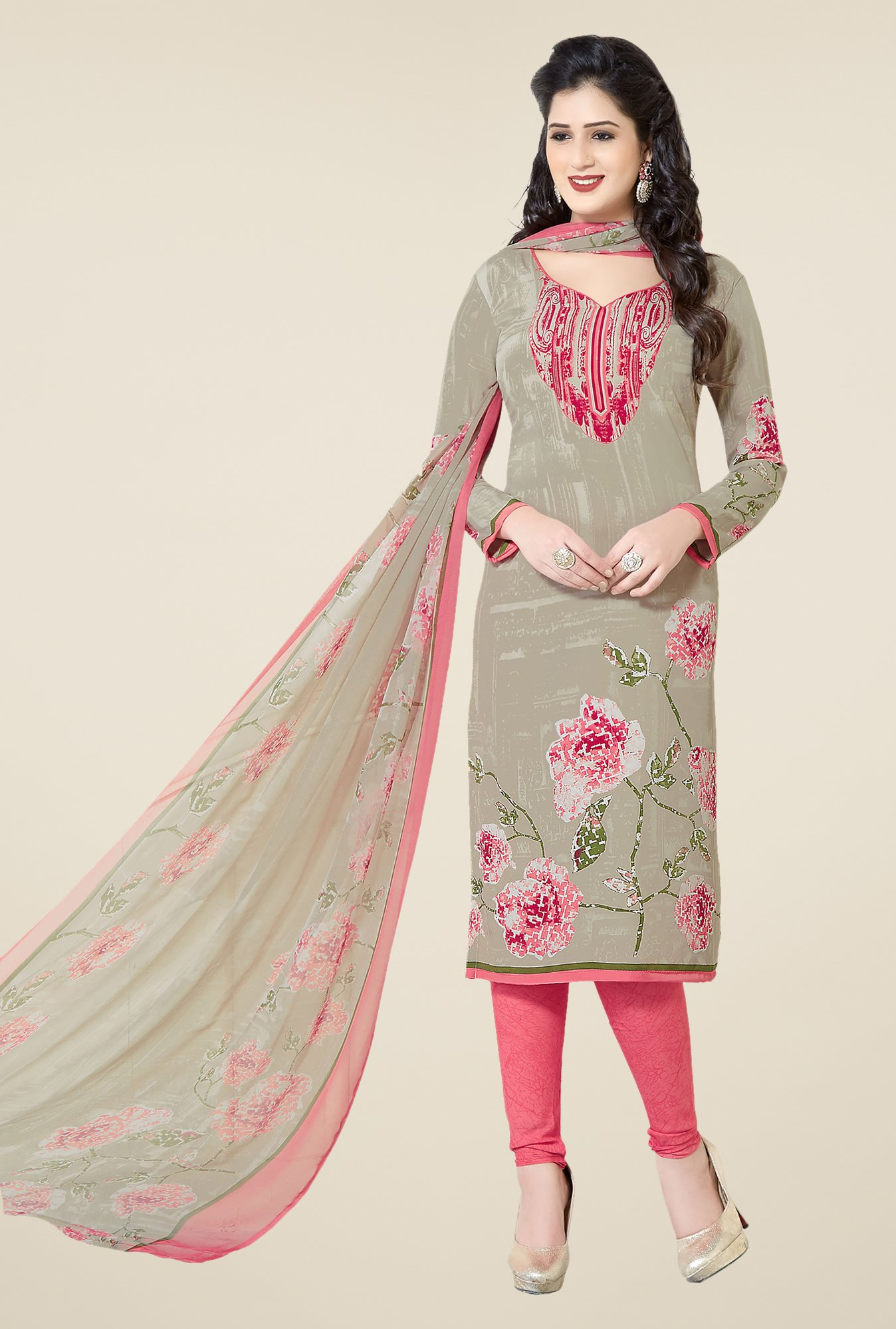 Ishin Grey & Peach Printed Unstitched Dress Material