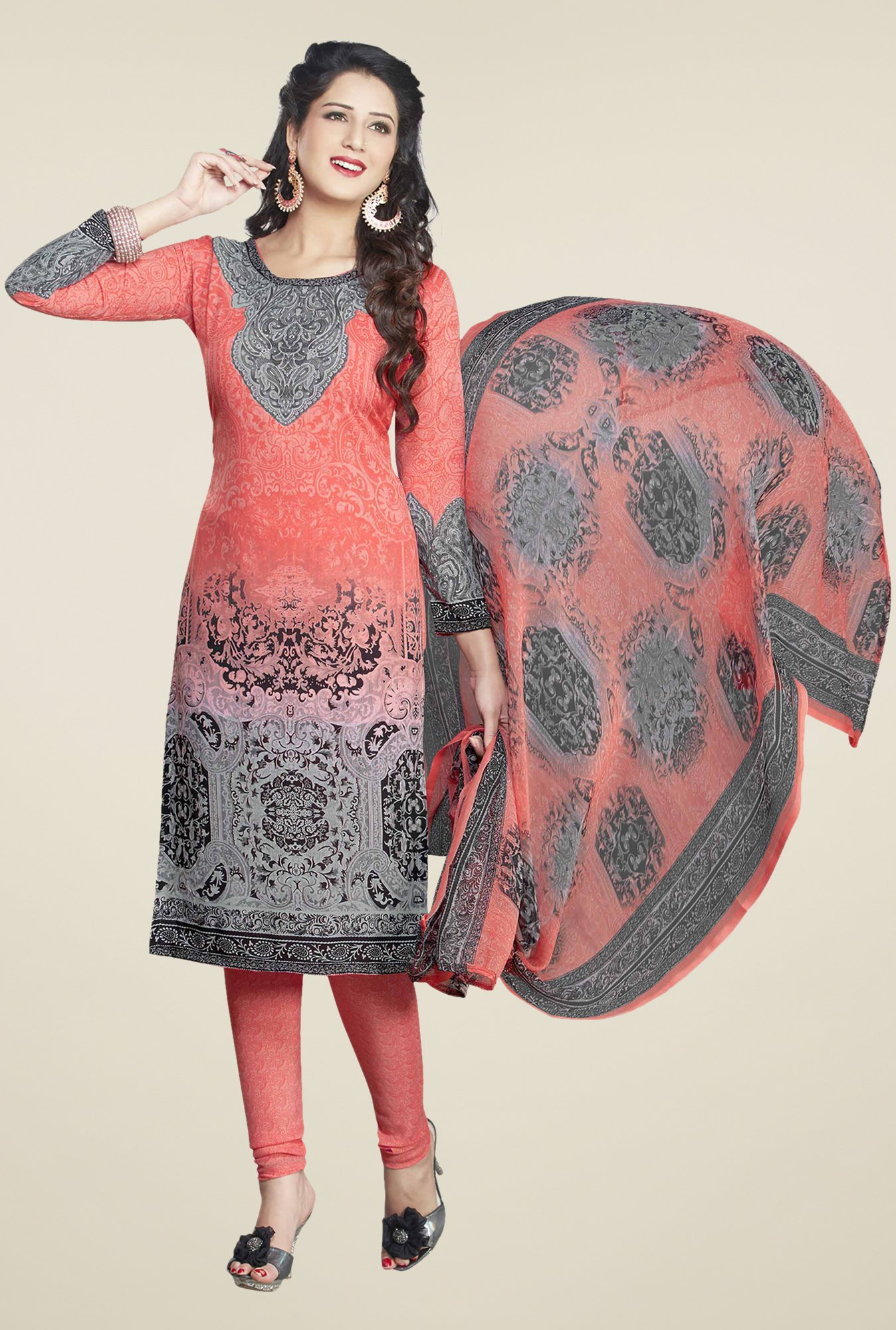 Ishin Peach & Grey Printed Unstitched Dress Material
