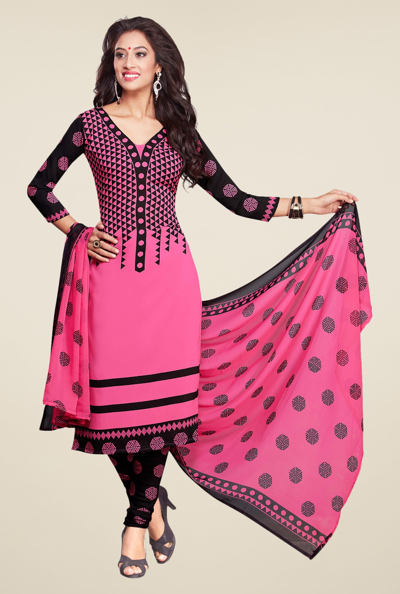 Ishin Pink & Black Printed Unstitched Dress Material