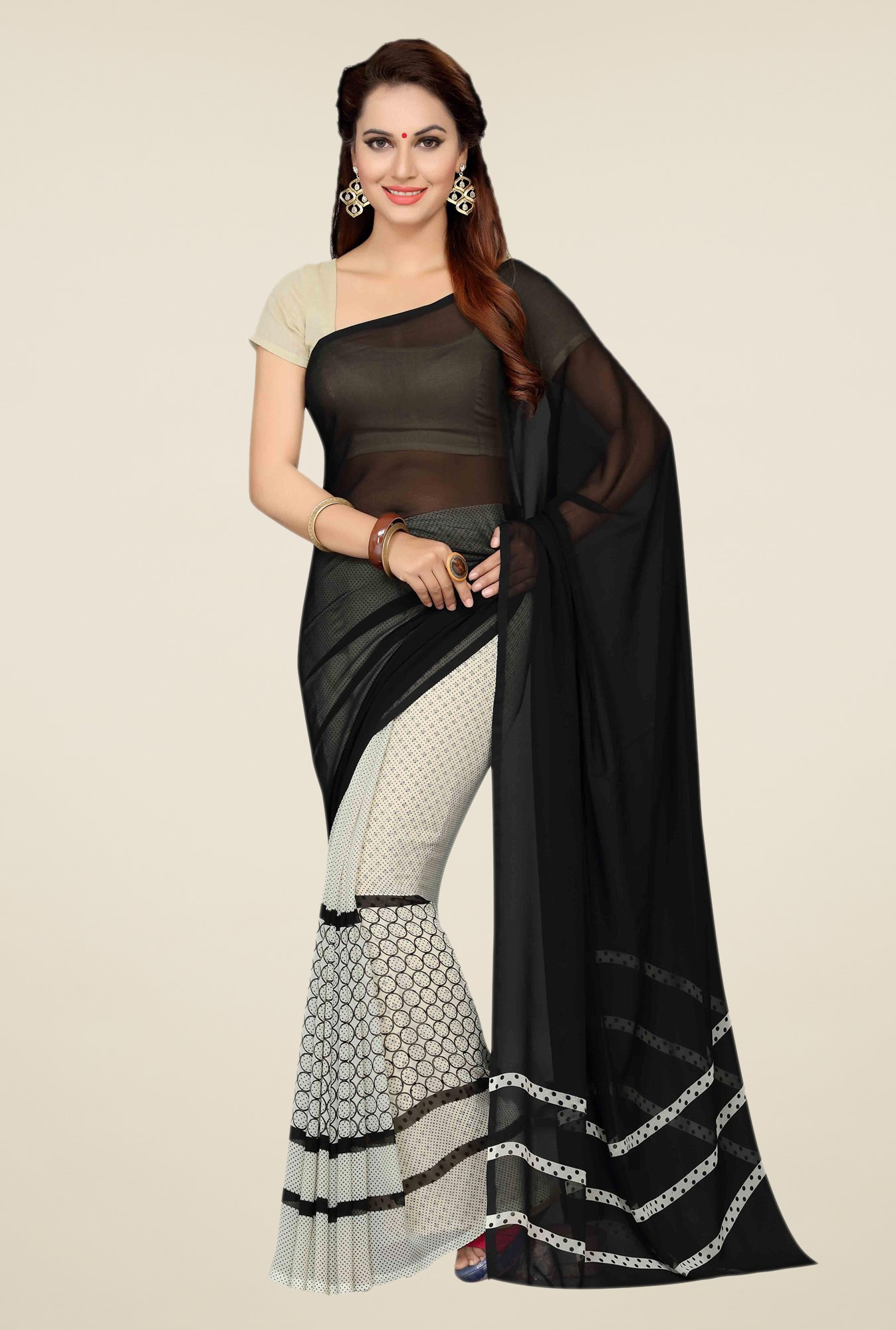 Ishin Black & White Faux Georgette Printed Saree
