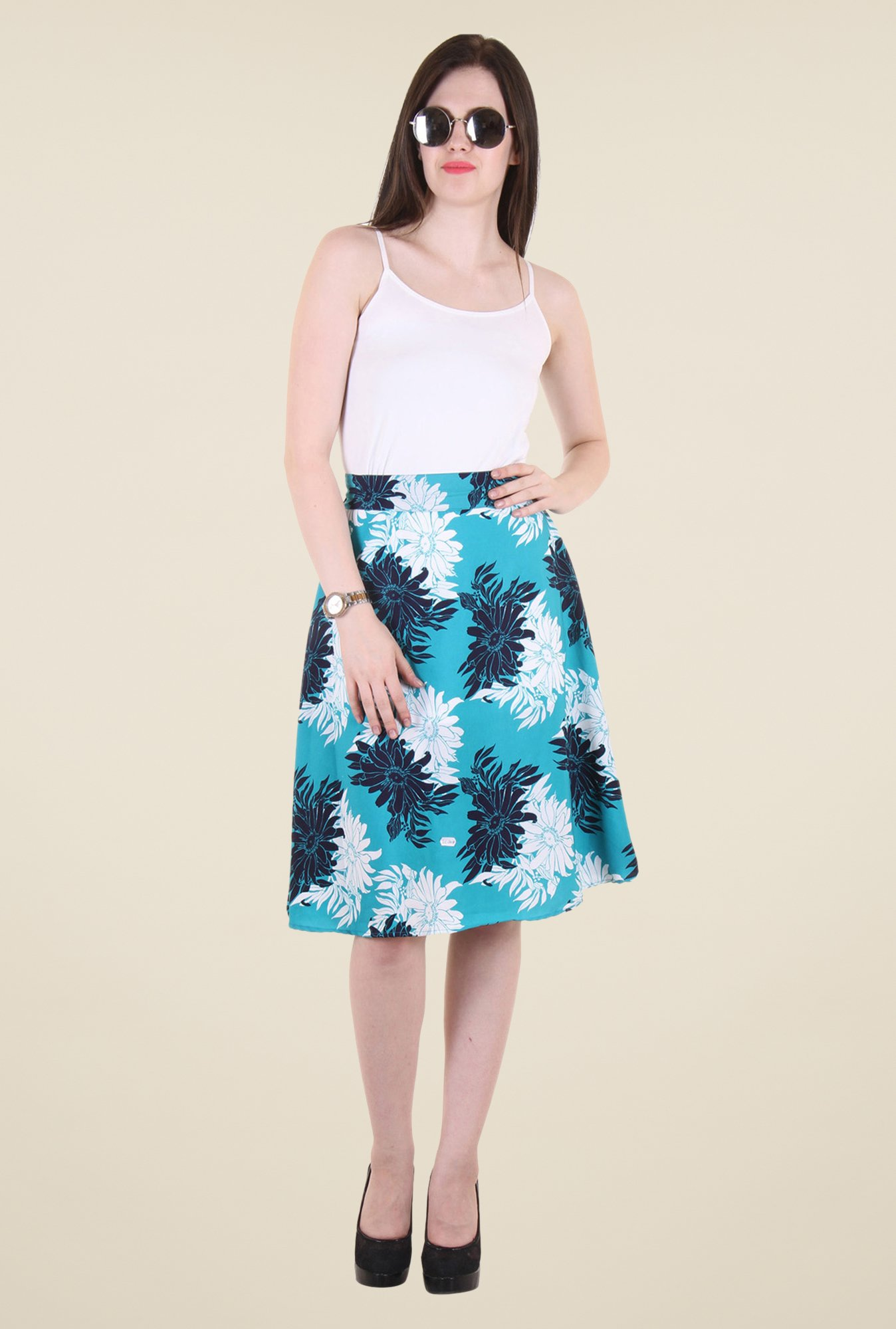 Hotberries Blue Floral Print Skirt
