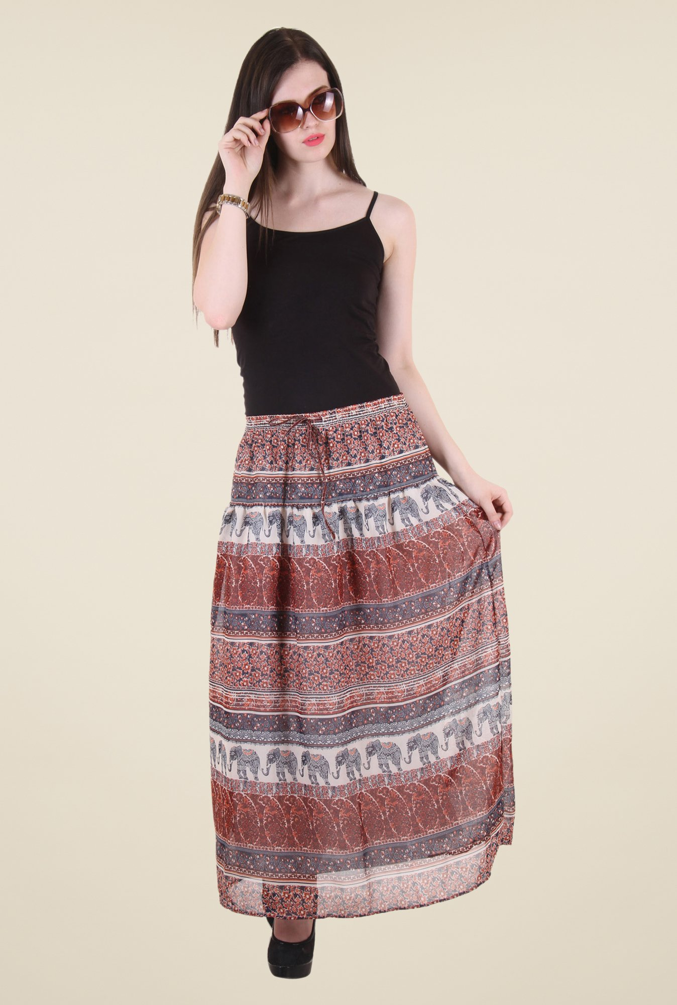 Hotberries Brown Maxi Skirt