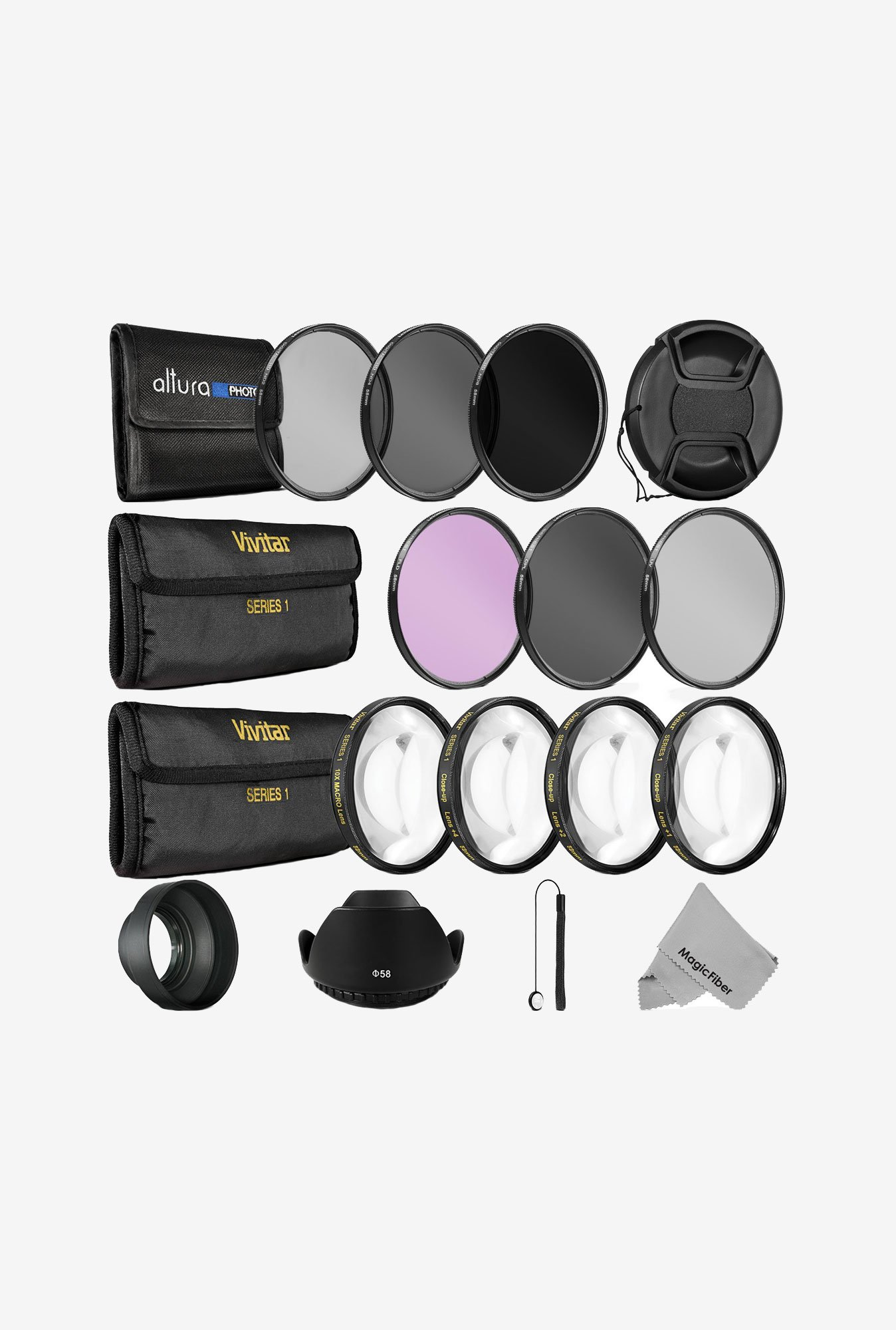 Goja 58mm Complete Lens Filter Accessory Kit For Canon Rebel