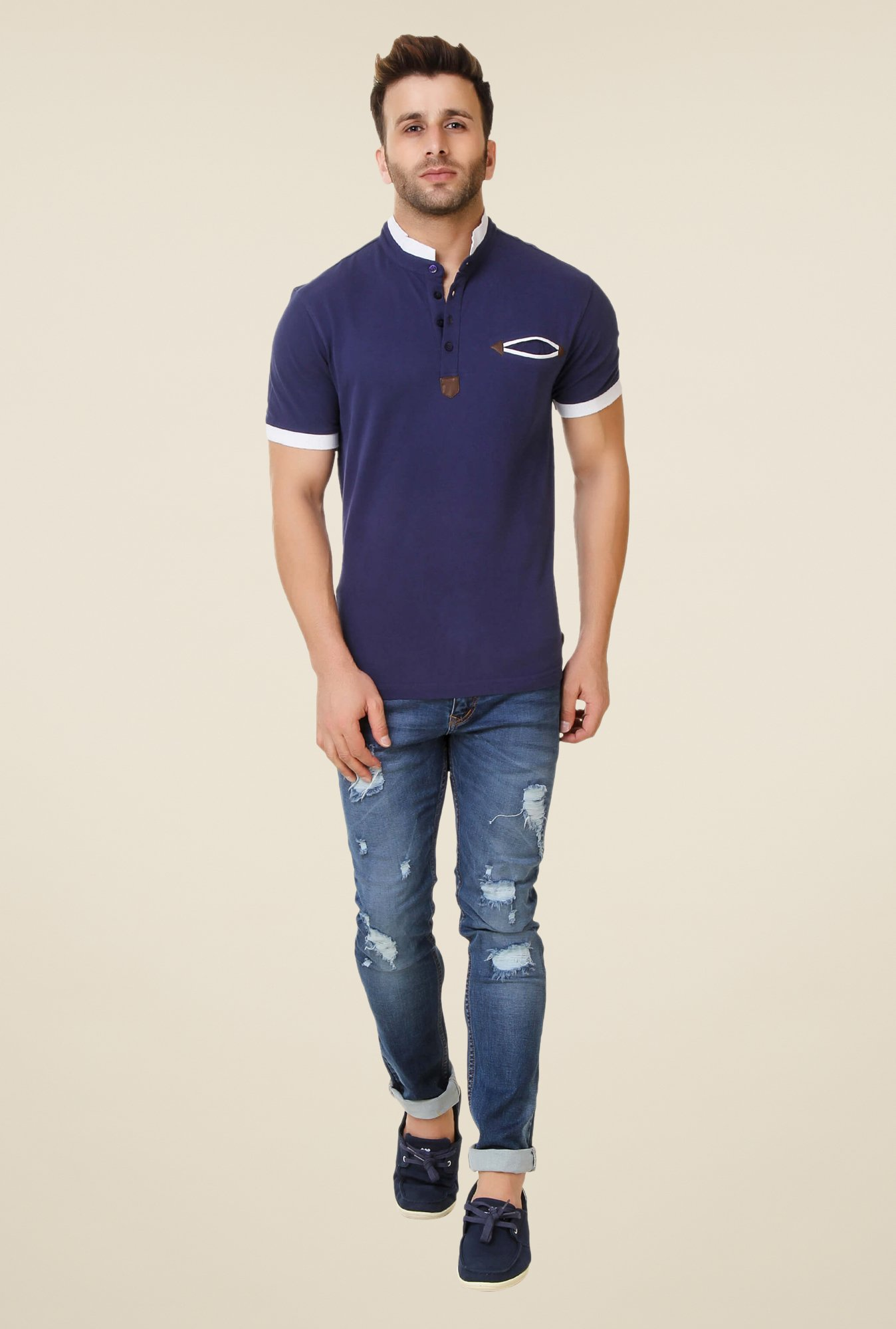 Spunk Navy Pu Patch T-shirt