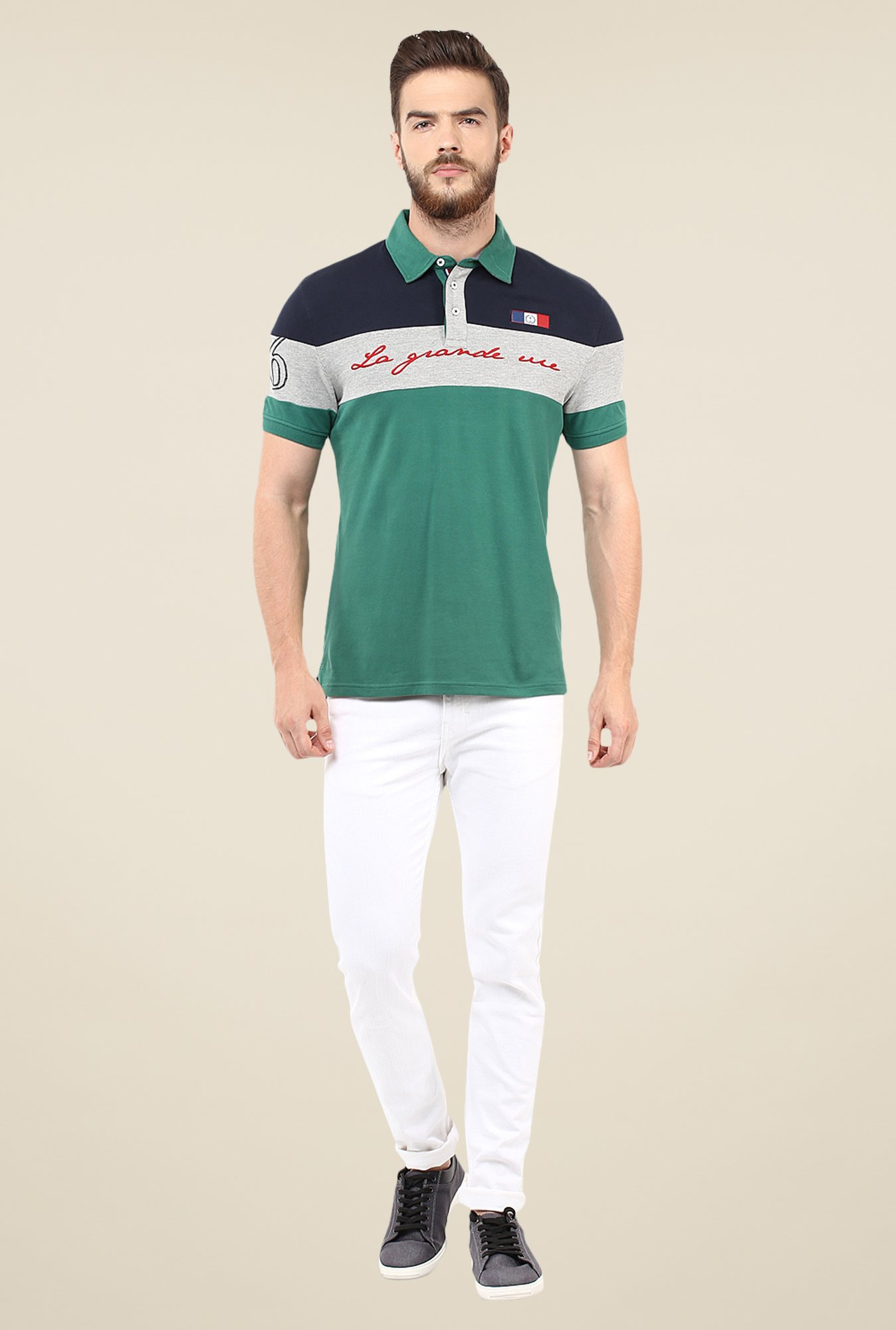 celio* Teal Solid Polo T Shirt