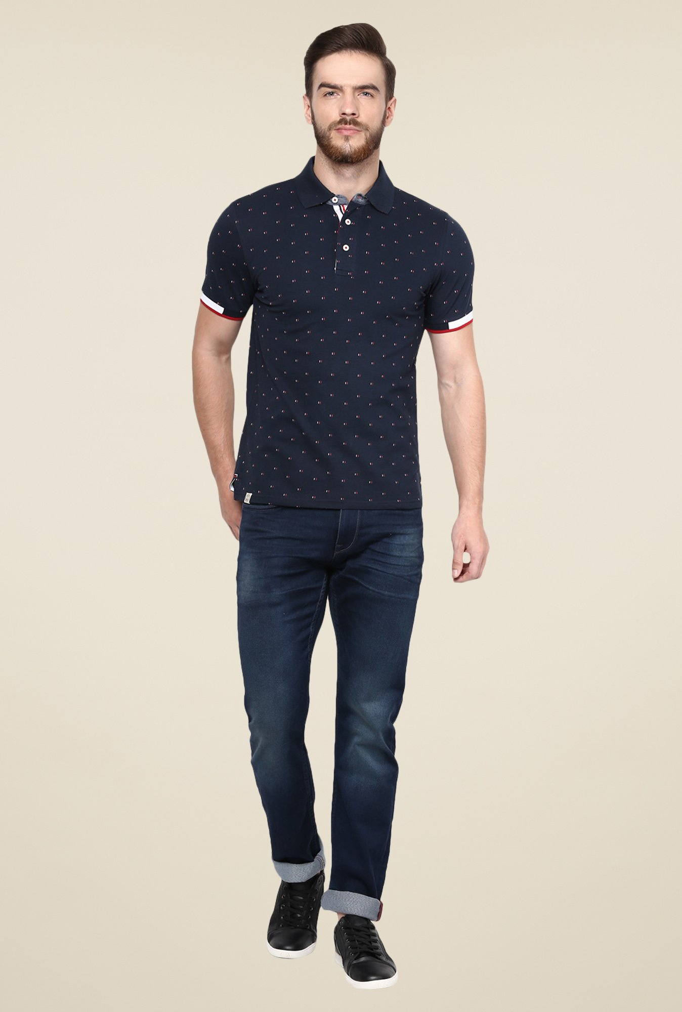 celio* Navy Printed Polo T Shirt