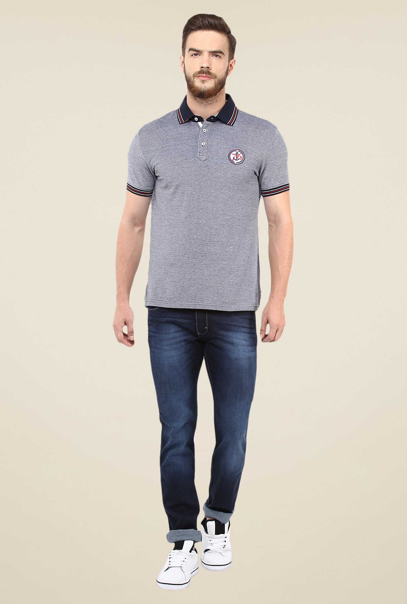 celio* Grey Solid Polo T Shirt