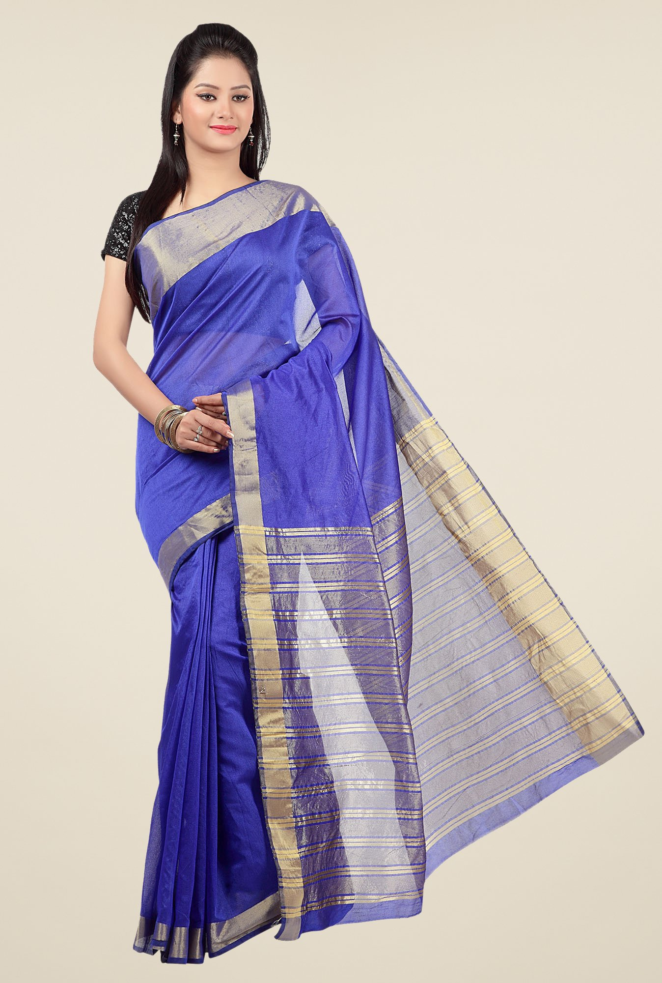 Jashn Blue Solid Saree