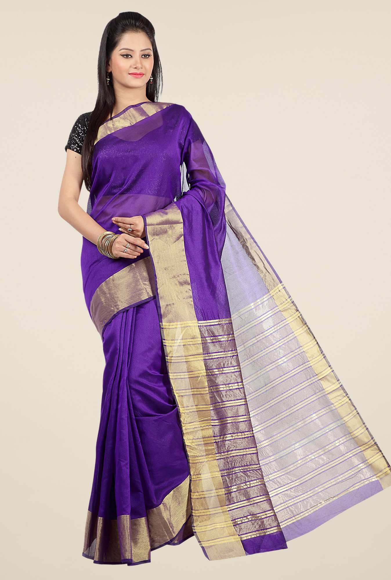 Jashn Purple Solid Saree