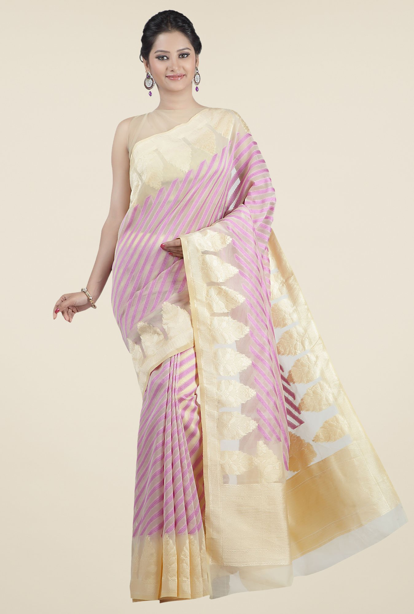 Jashn Beige & Lavender Striped Saree