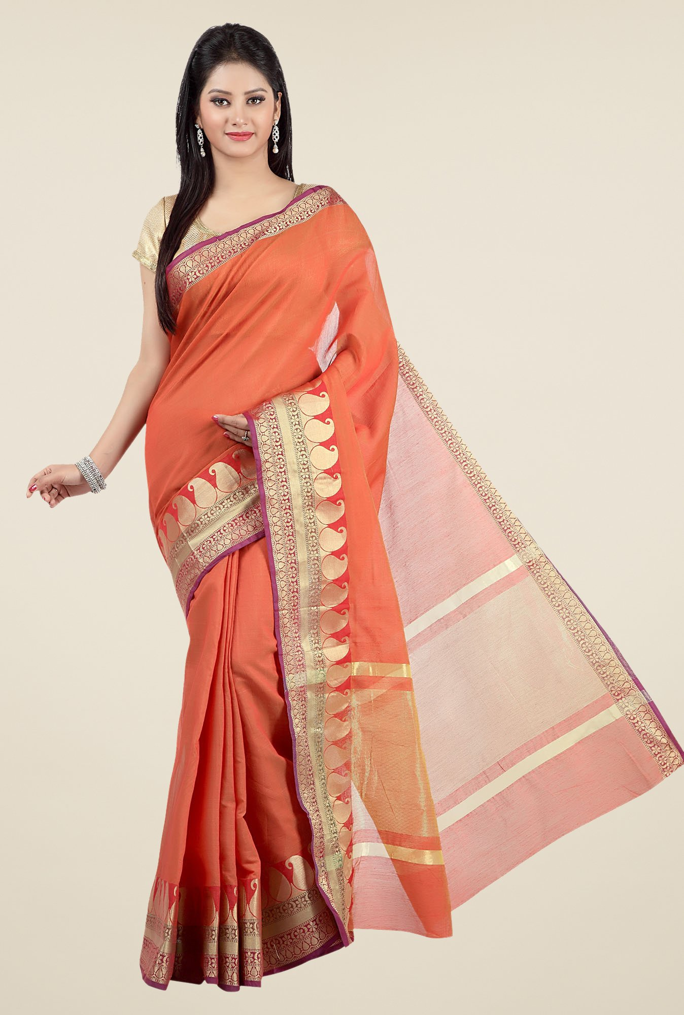 Jashn Orange Paisley Print Saree
