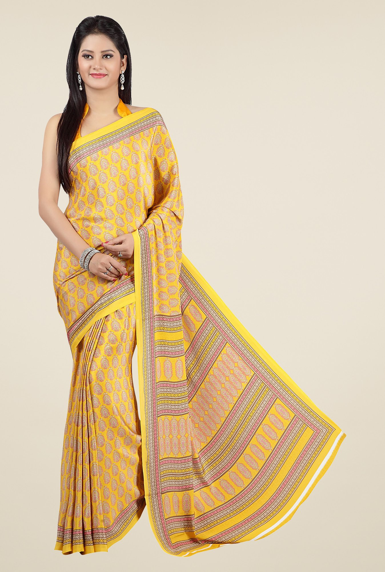 Jashn Yellow Block Print Saree