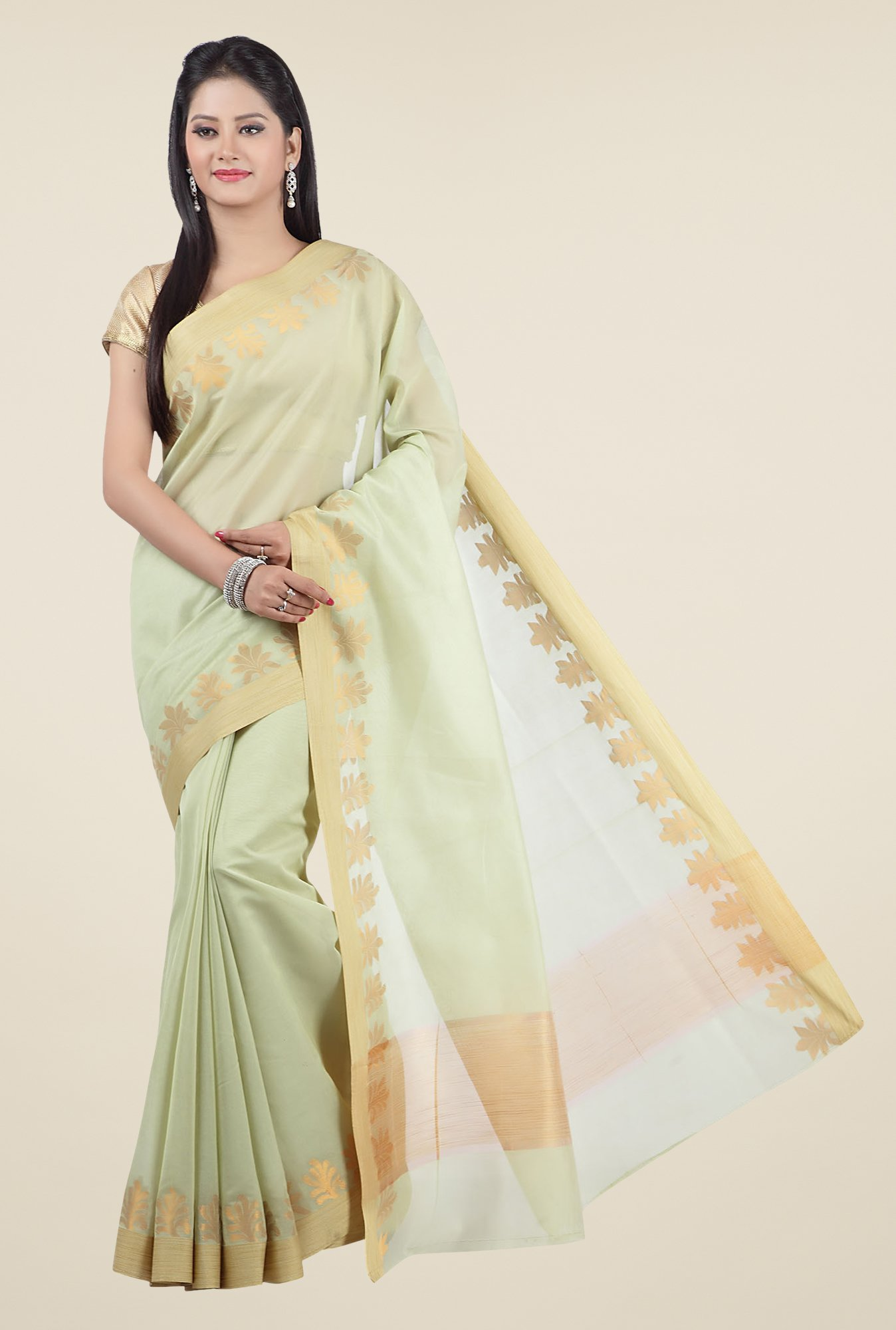 Jashn Green Printed Saree