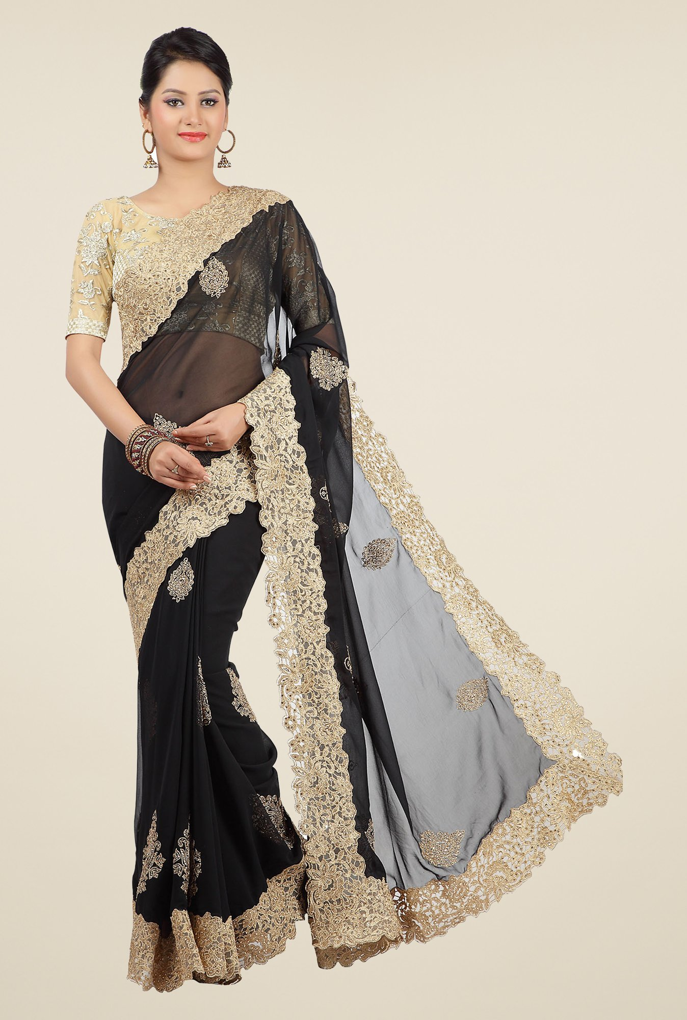 Jashn Black & Beige Embroidered Georgette Saree