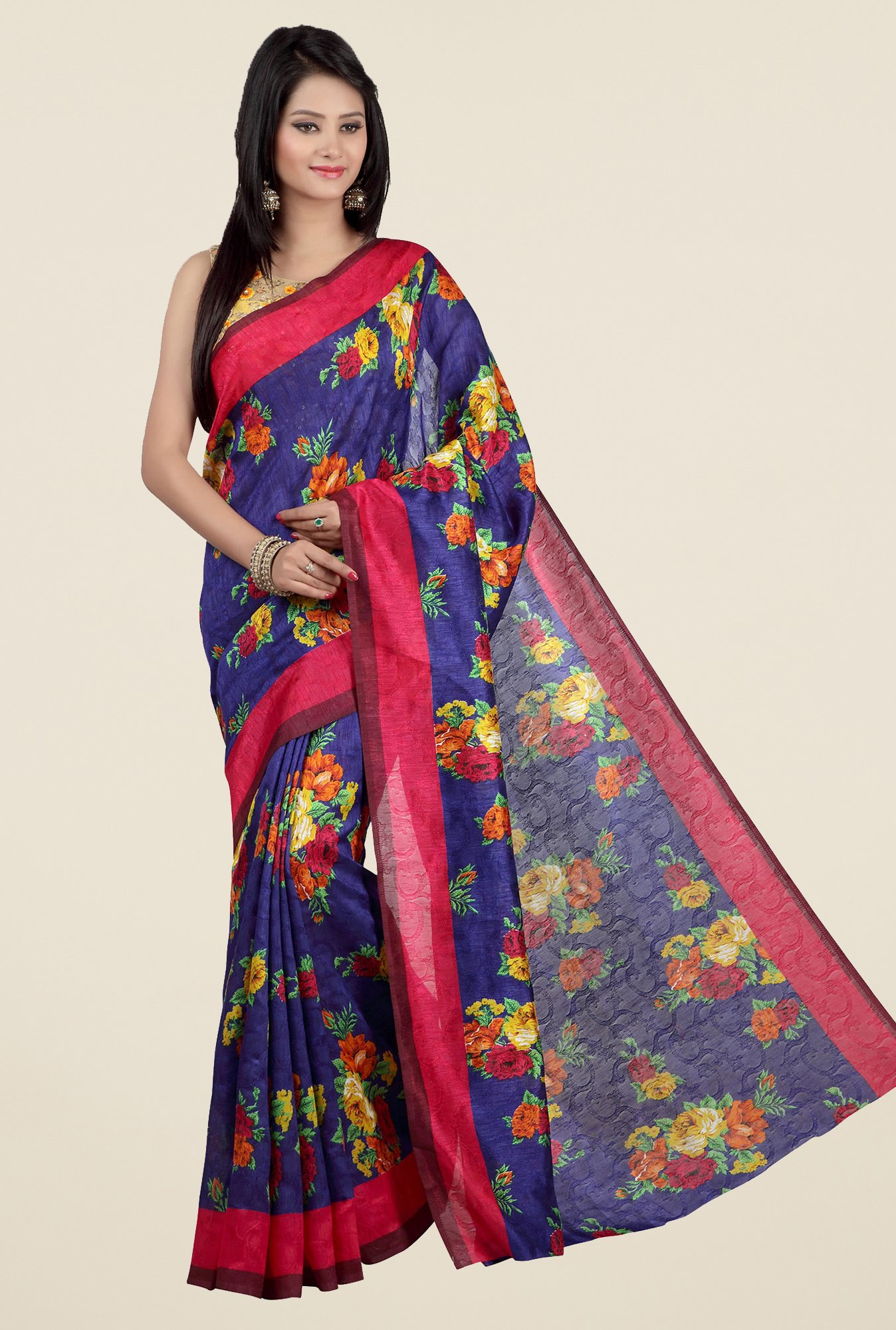 Jashn Blue and Pink Floral Print Jacquard Saree