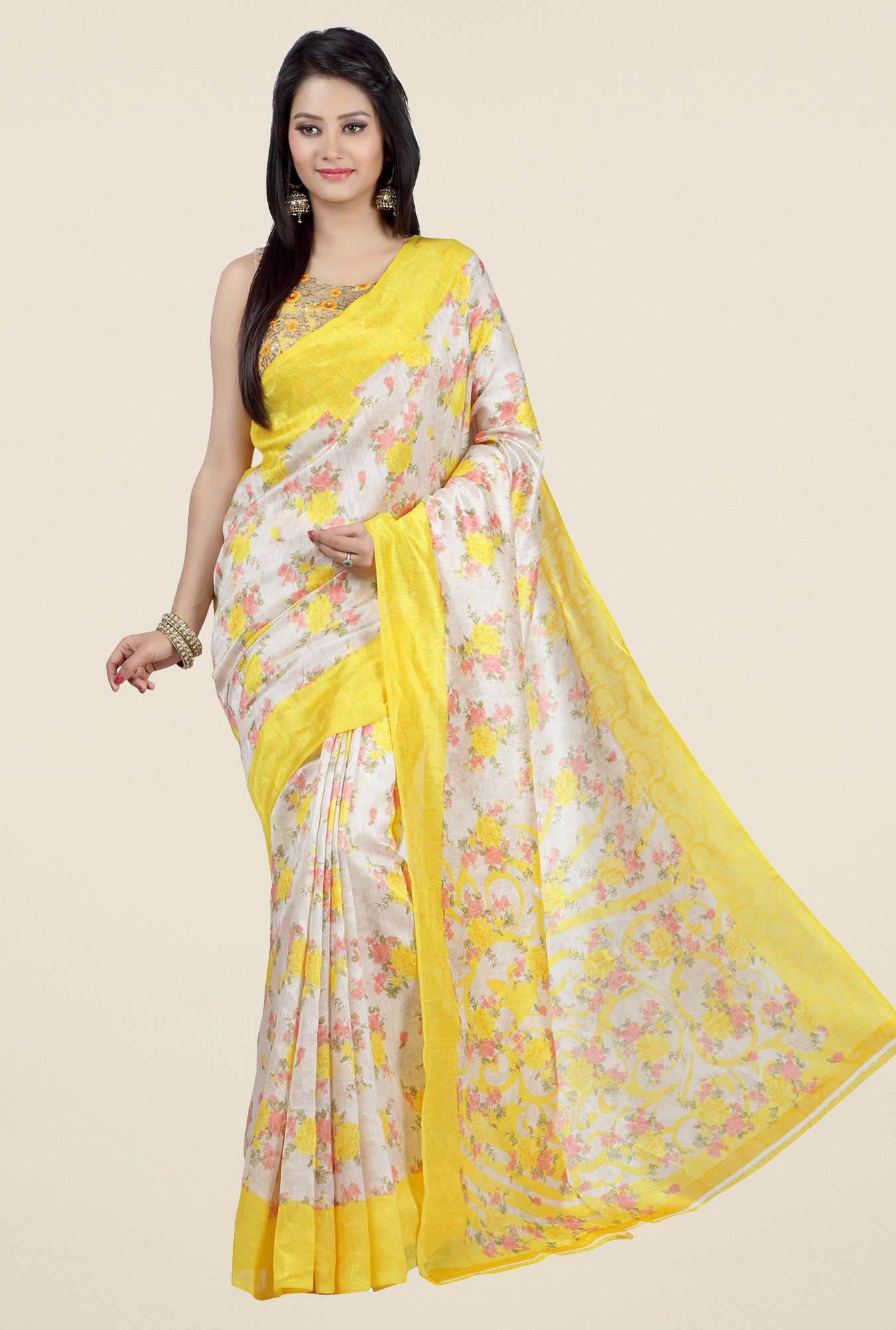 Jashn Beige and Yellow Floral Print Jacquard Saree
