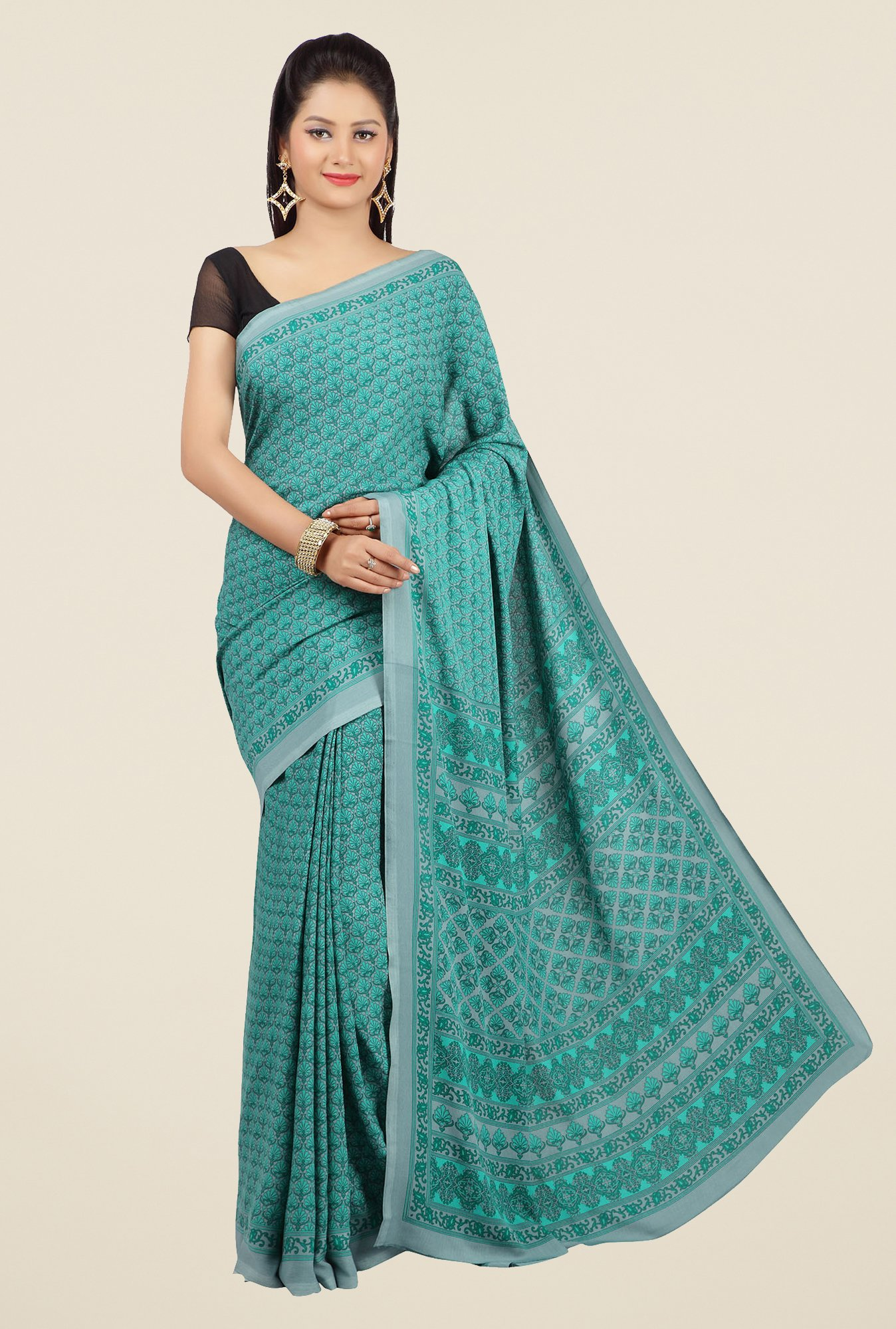 Jashn Teal Printed Saree