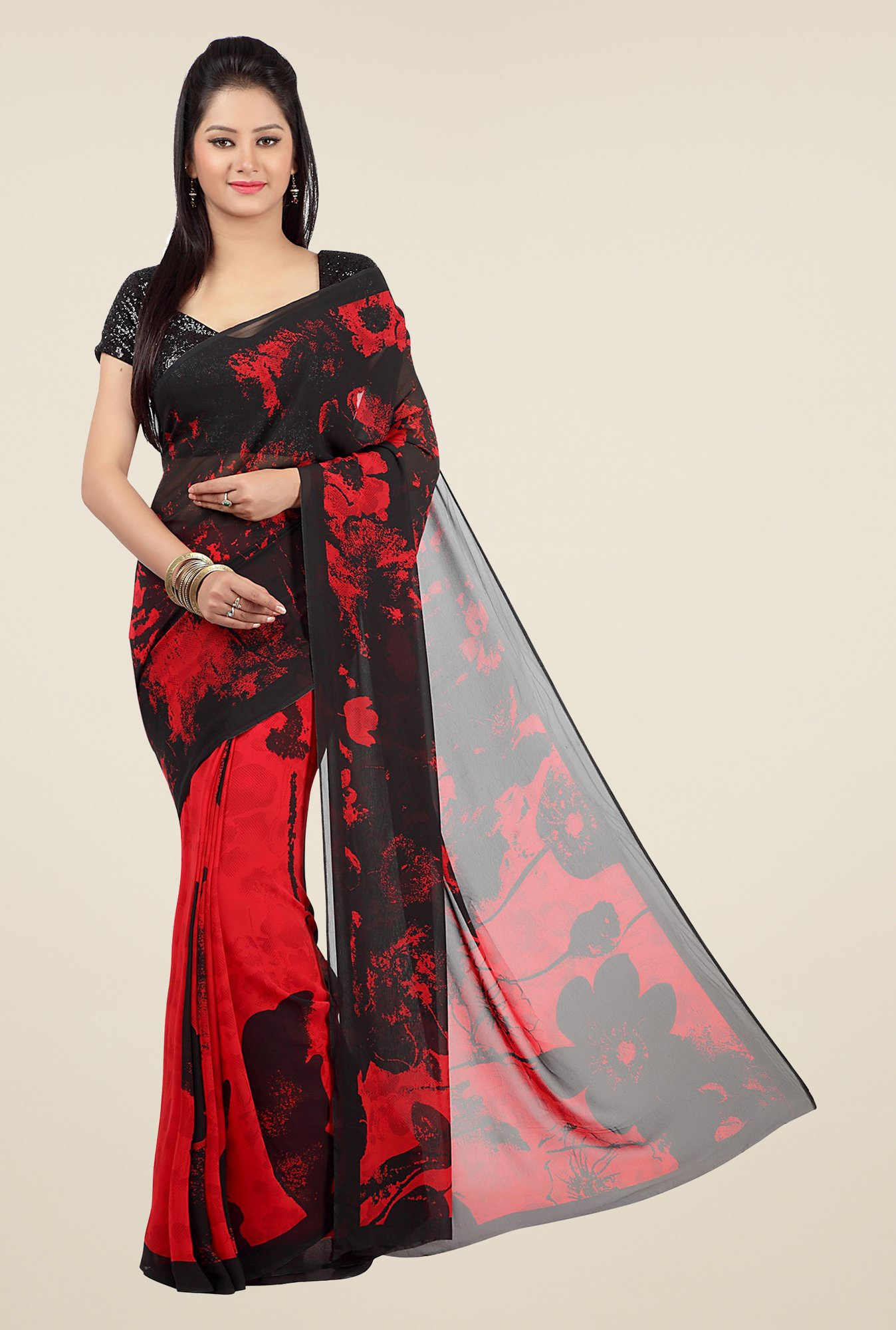 Jashn Red & Black Printed Georgette Saree