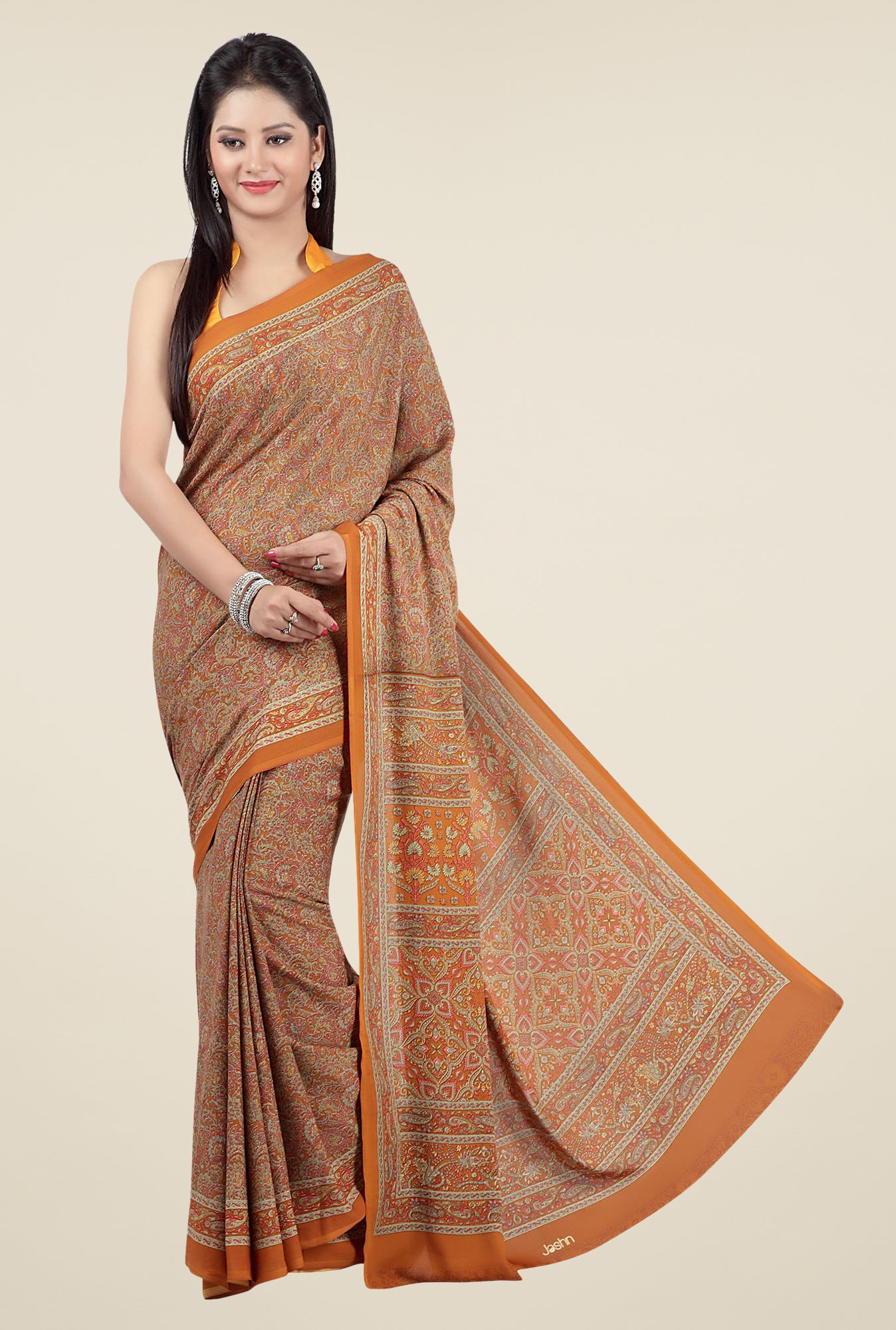 Jashn Mustard & Brown Floral Print Saree