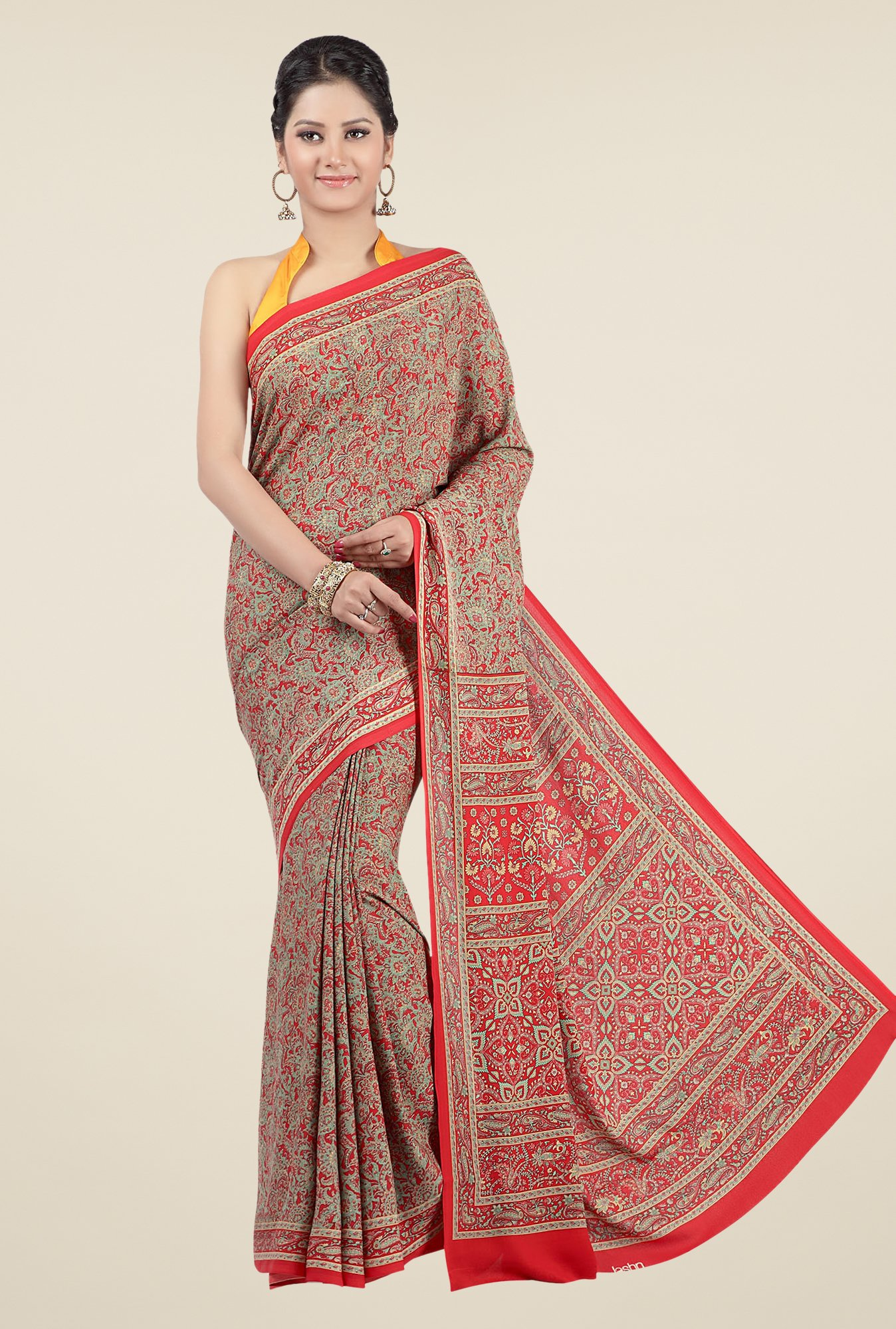 Jashn Red & Brown Floral Print Saree