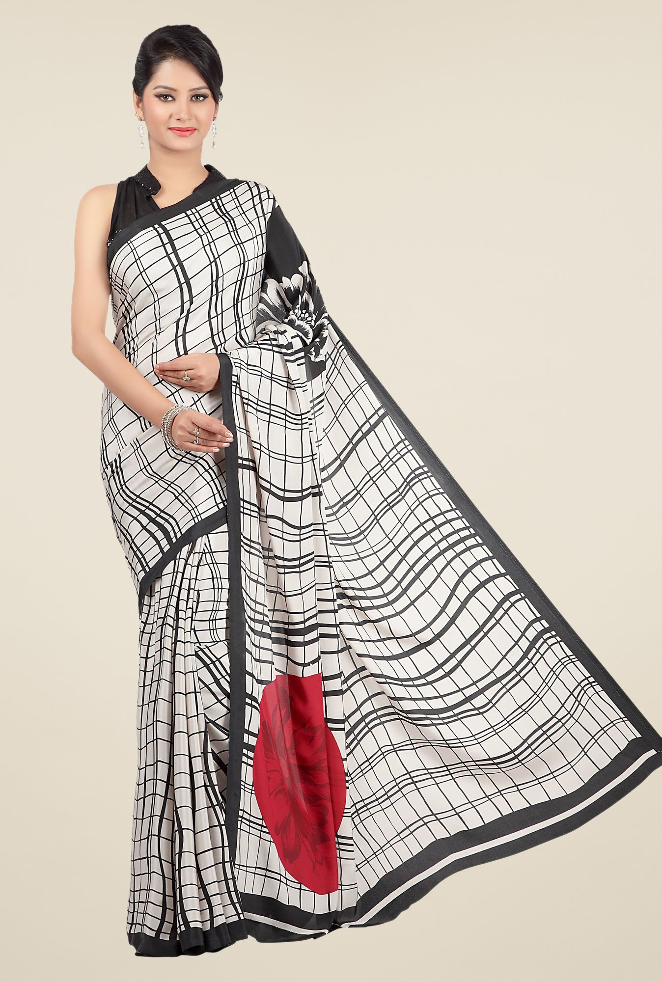 Jashn Off White & Black Checks Saree