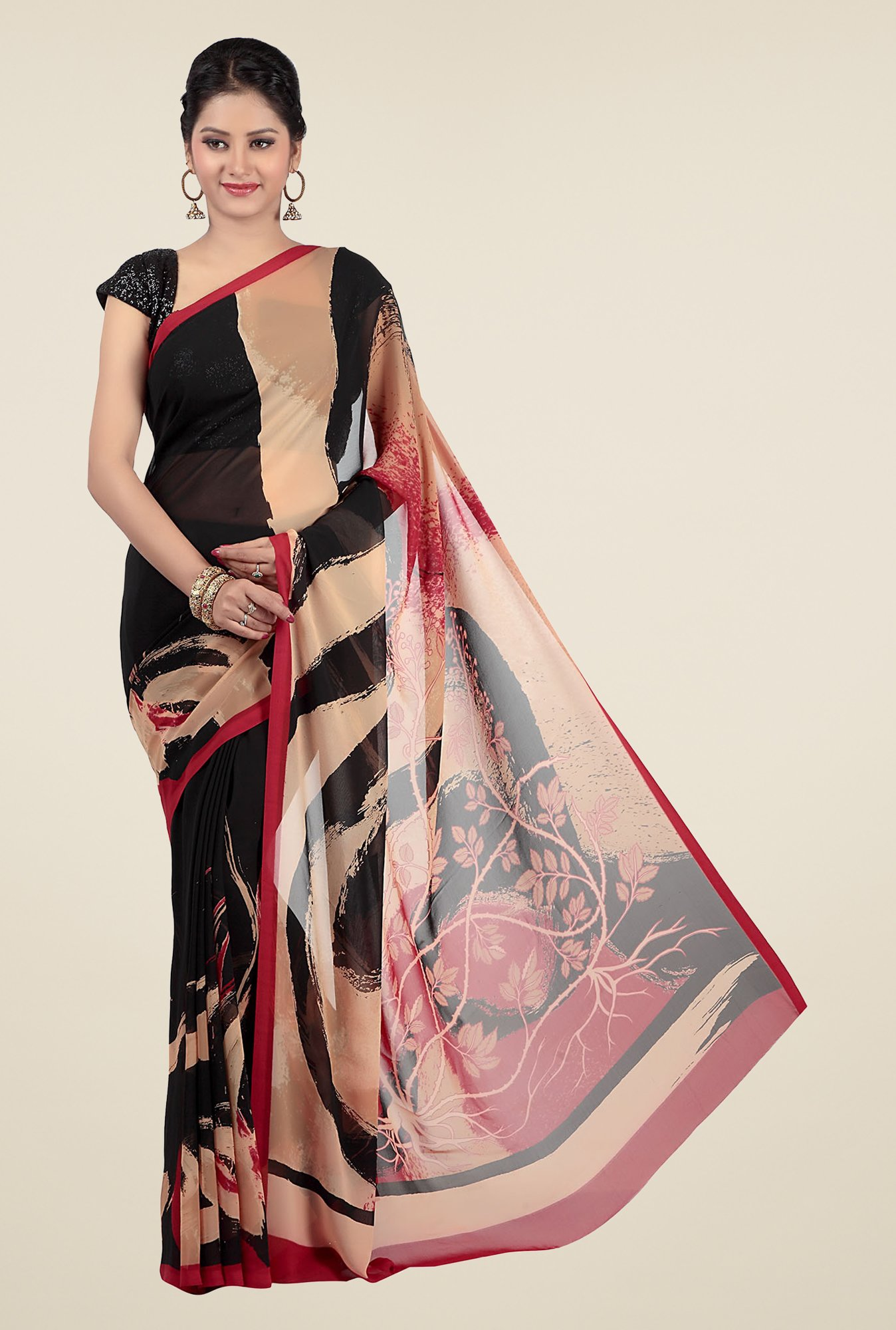 Jashn Black & Beige Printed Georgette Saree