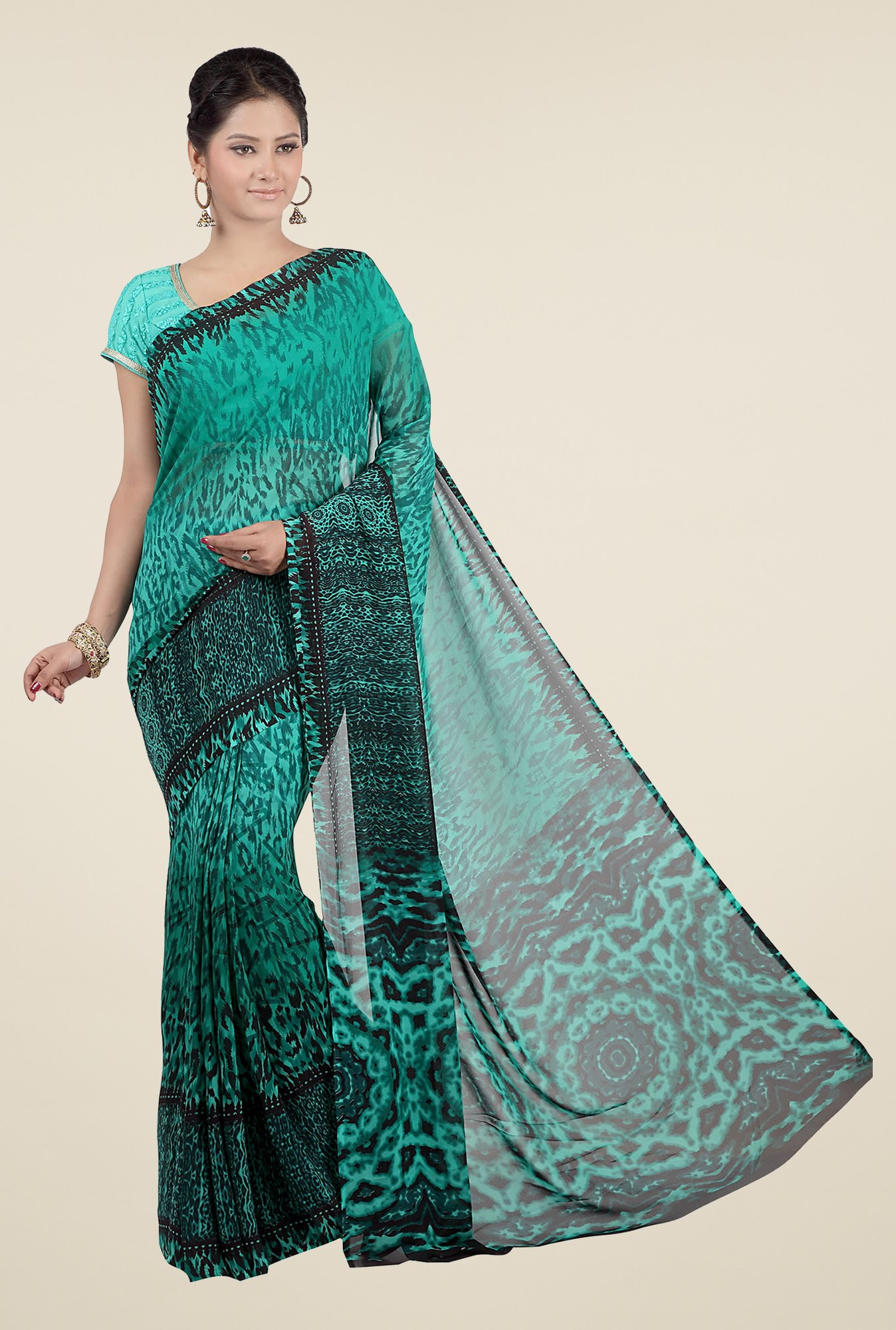 Jashn Green & Black Printed Georgette Saree