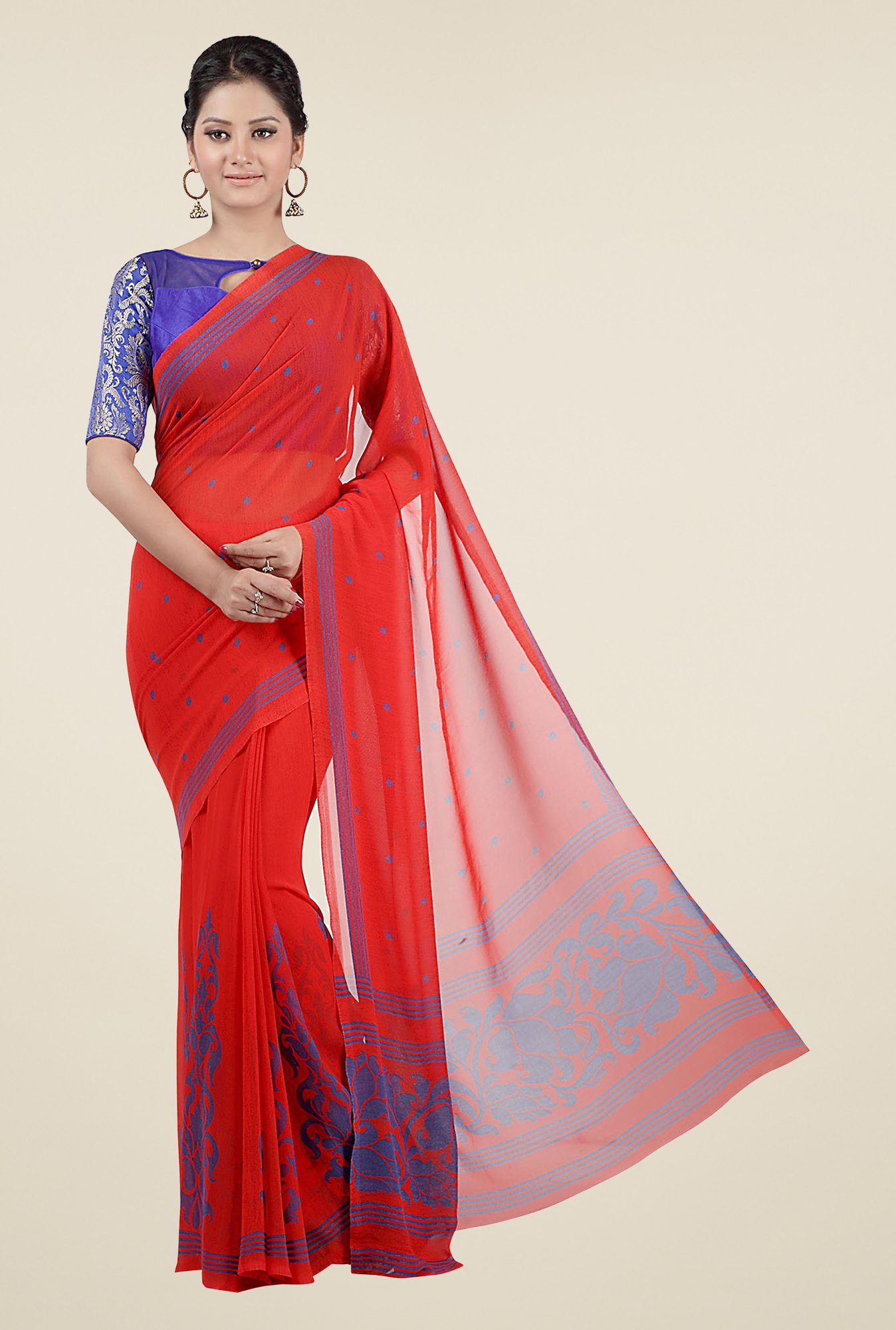 Jashn Red Printed Georgette Saree