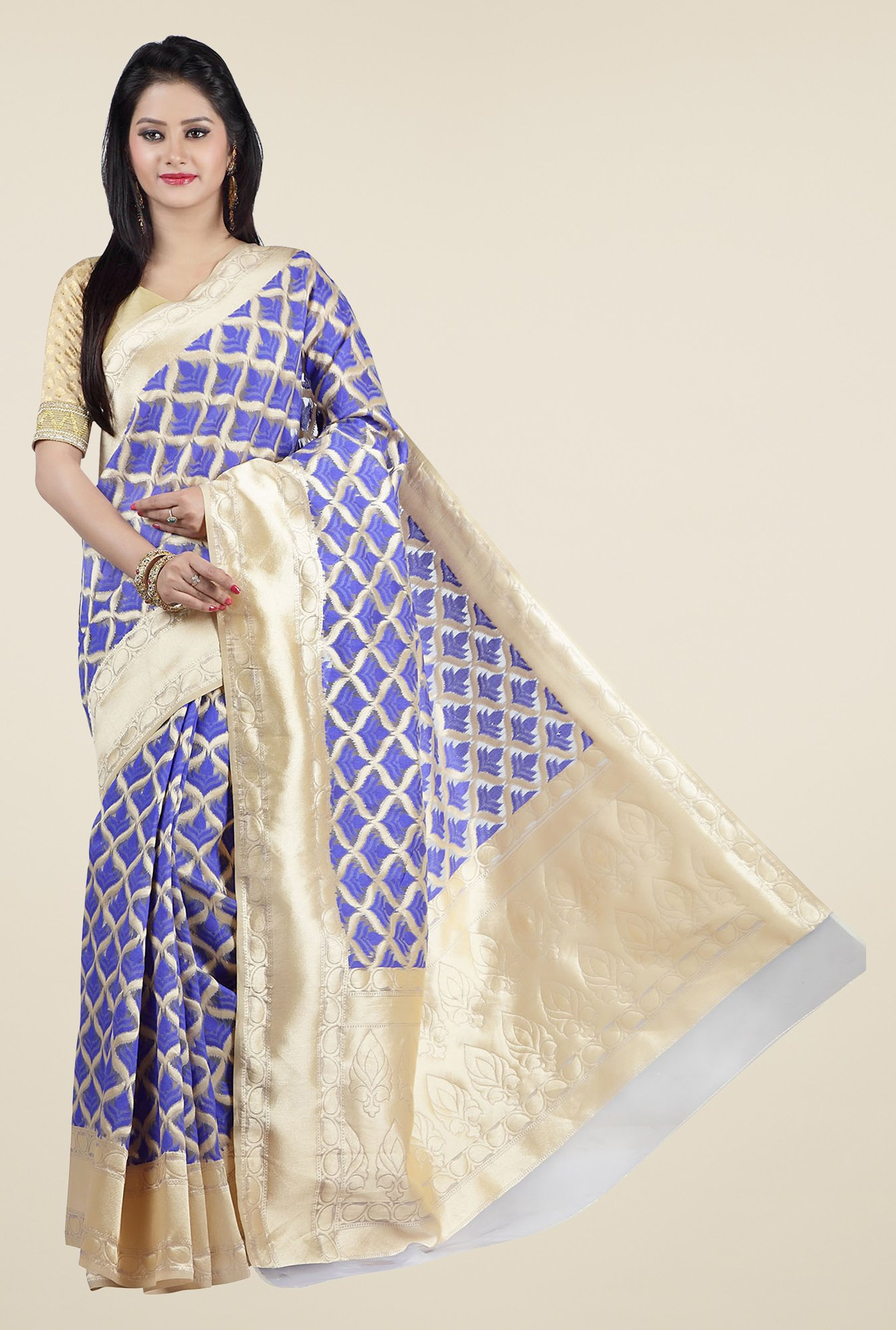 Jashn Royal Blue & Beige Printed Saree