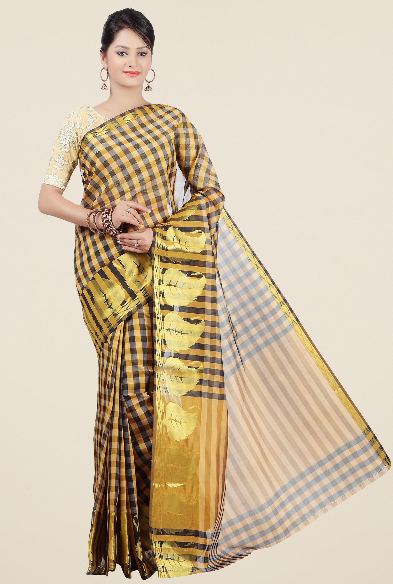 Jashn Mustard & Black Checks Saree