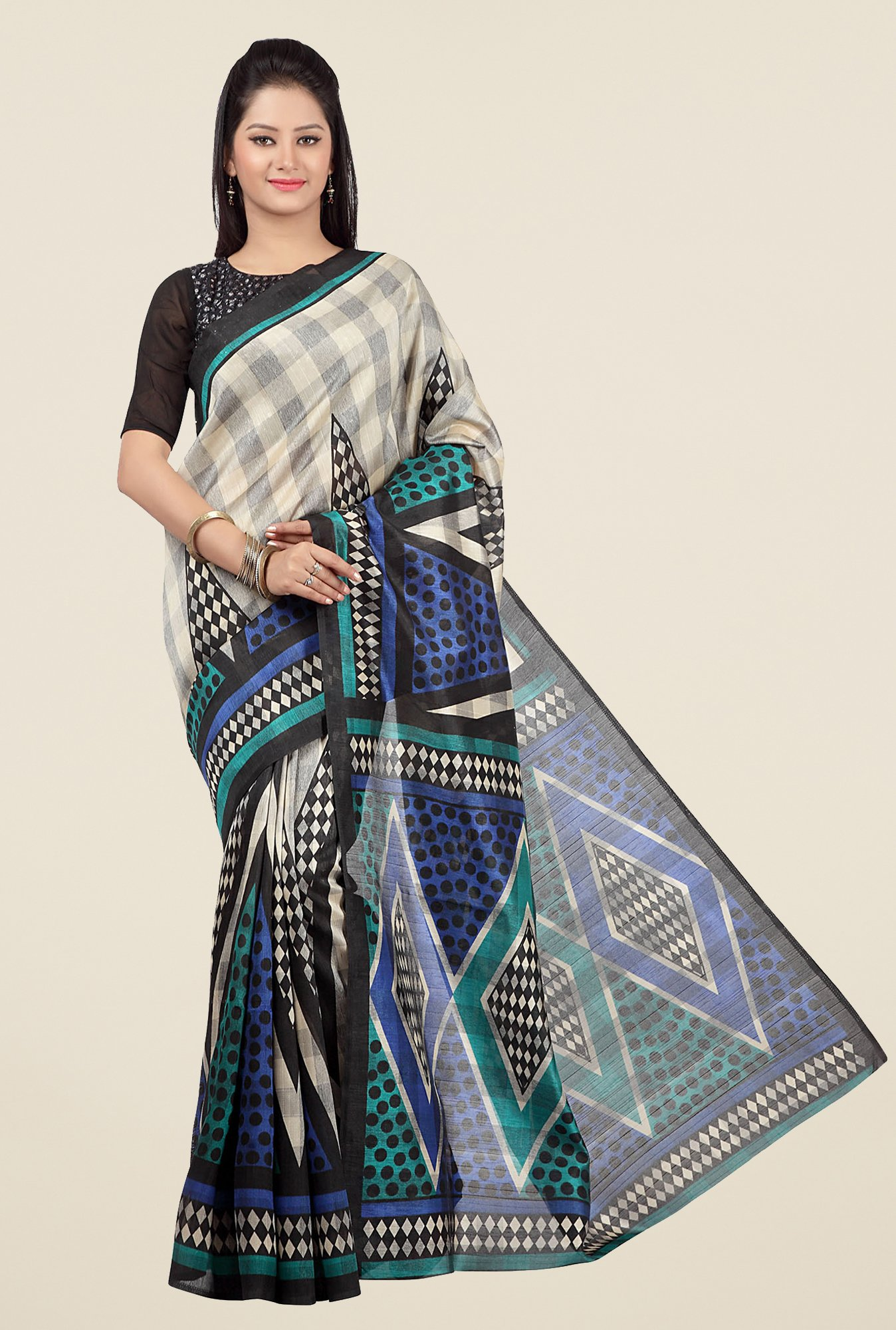 Jashn Beige and Blue Geometric Print Saree