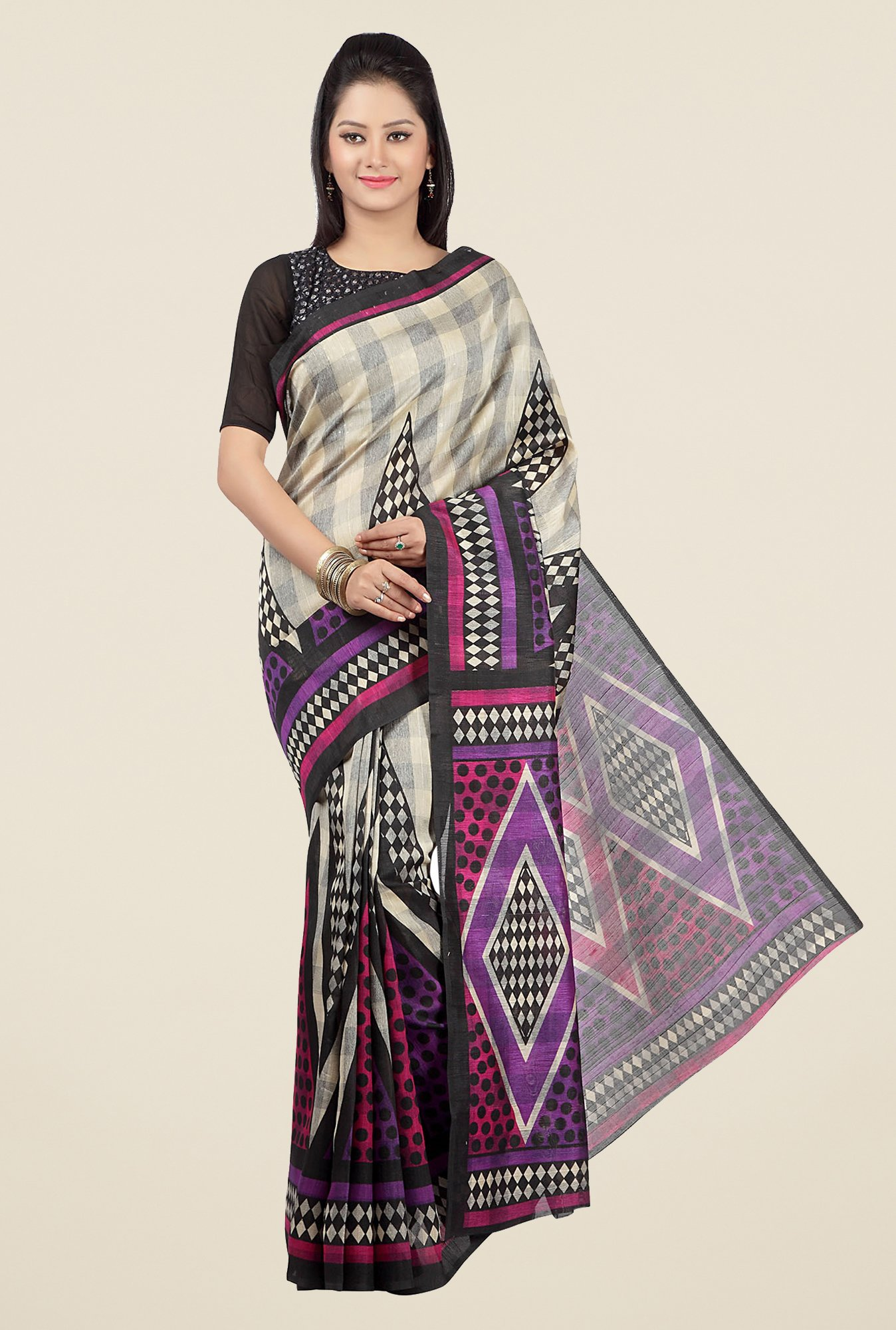 Jashn Beige and Purple Geometric Print Saree