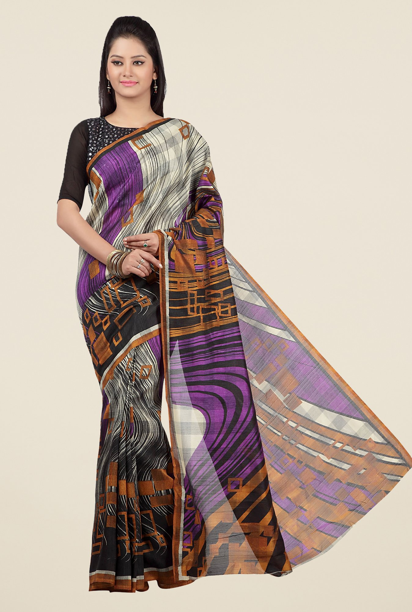 Jashn Multicolor Geometric Print Saree