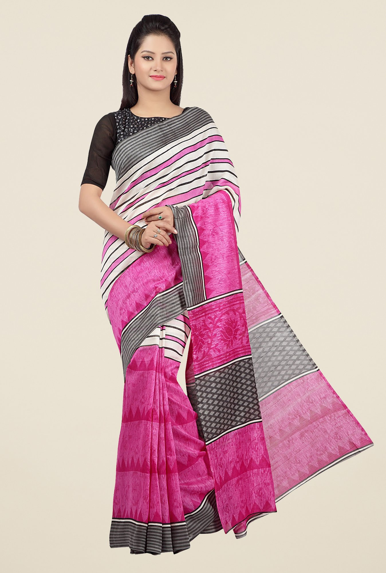 Jashn Pink Striped Saree