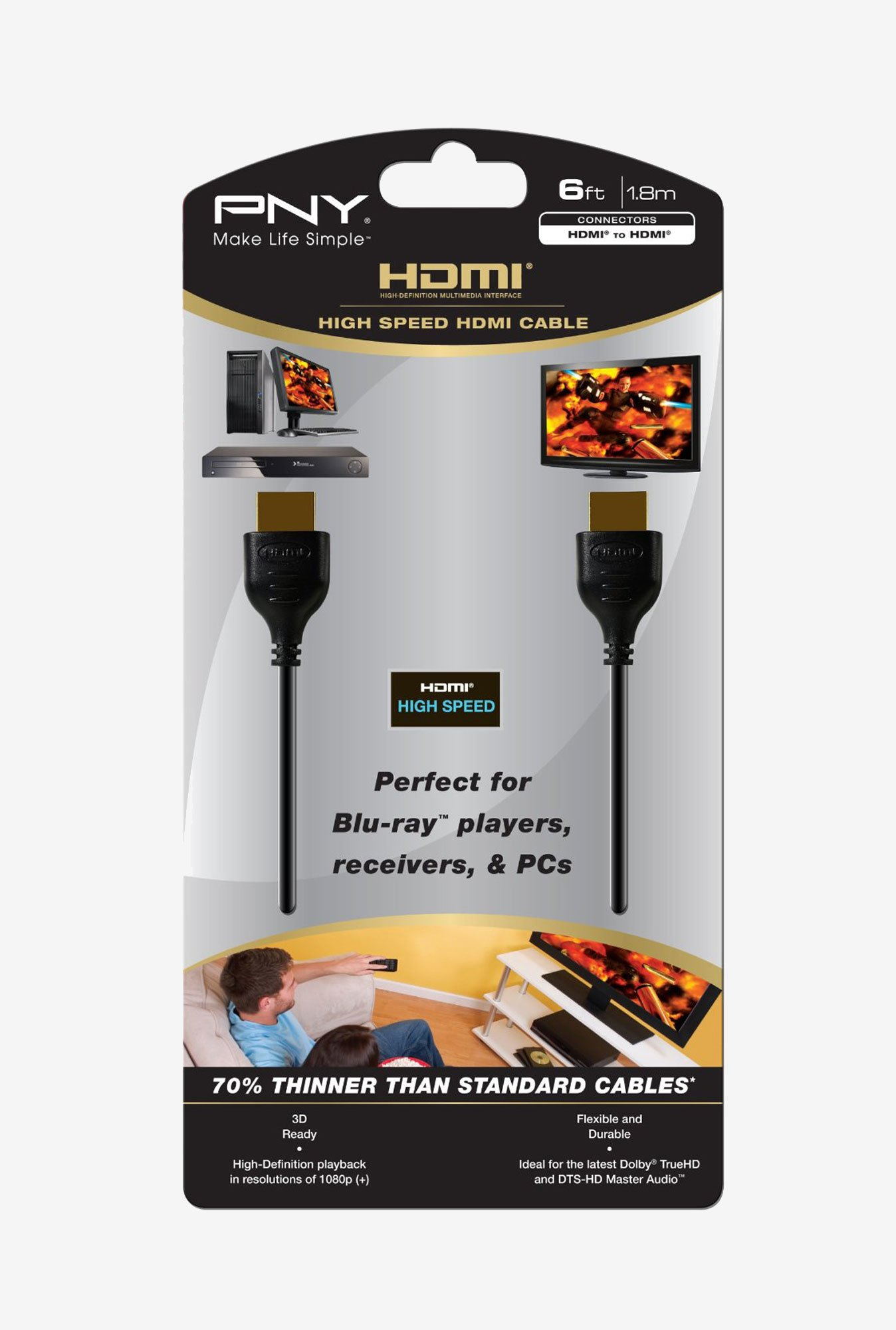 PNY C-H-P10-A06-H 6-Feet HDMI to HDMI Cable (Black)